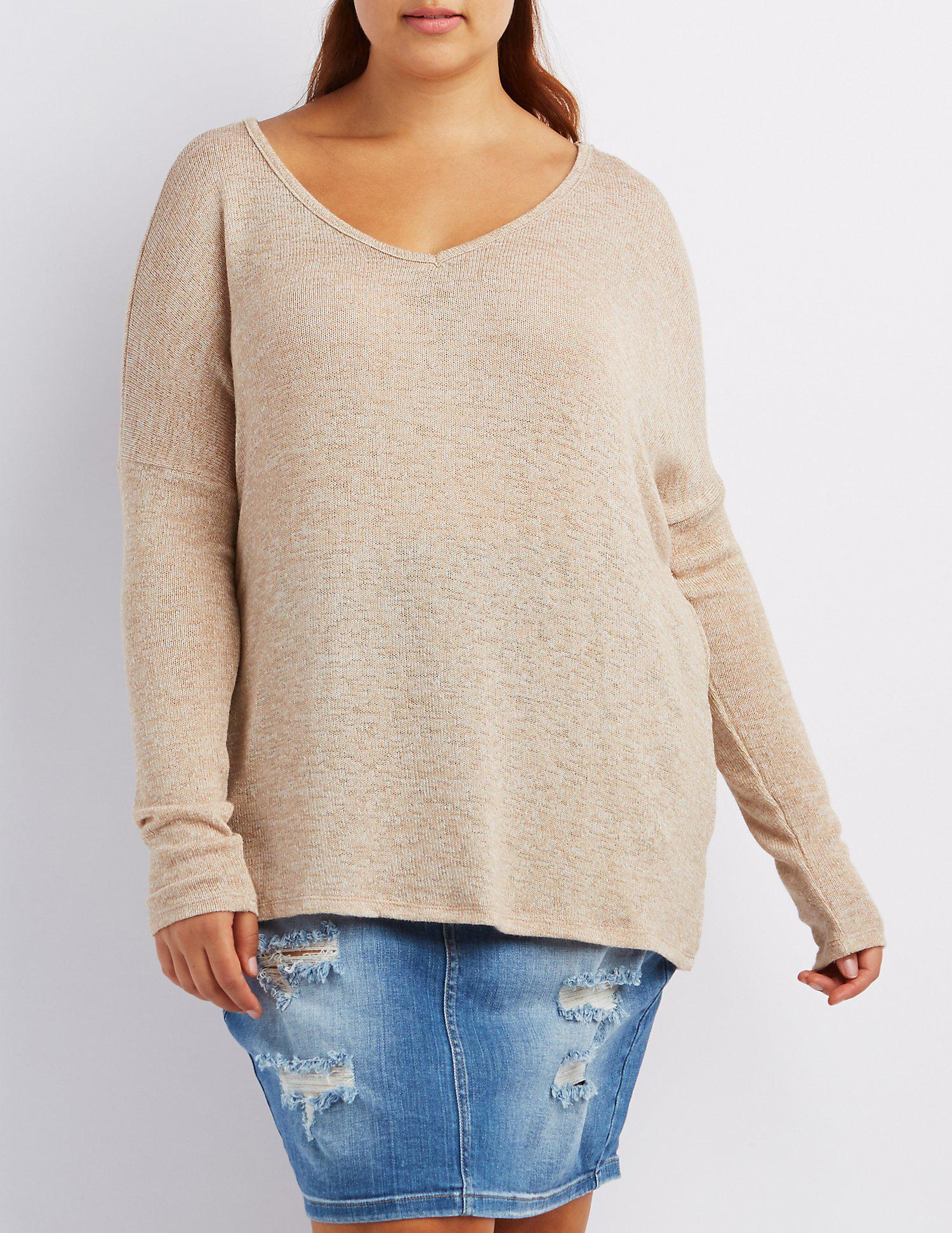df793c6e9c Lyst - Charlotte Russe Plus Size Marled V-neck Sweater in Natural
