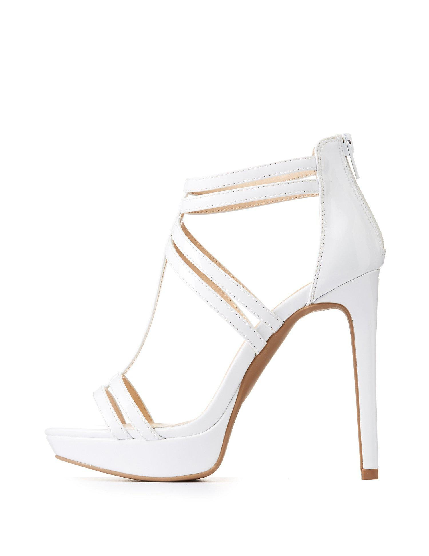 7bf612dc87b3e Lyst - Charlotte Russe Caged Platform Sandals in White