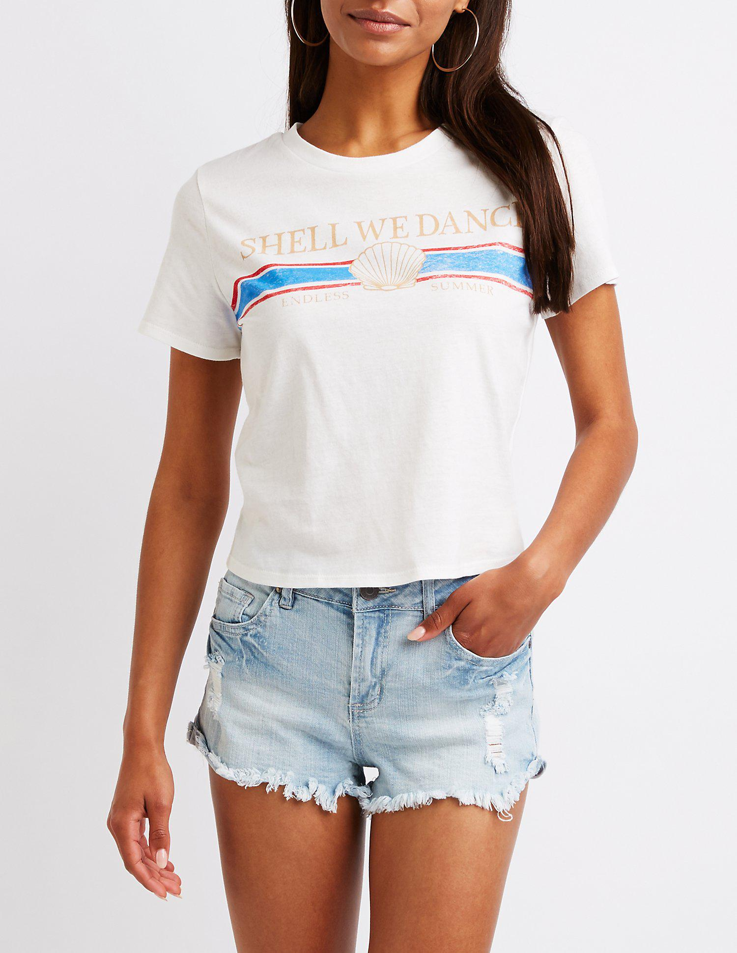 d668f140335 Lyst - Charlotte Russe Shell We Dance Tee in White