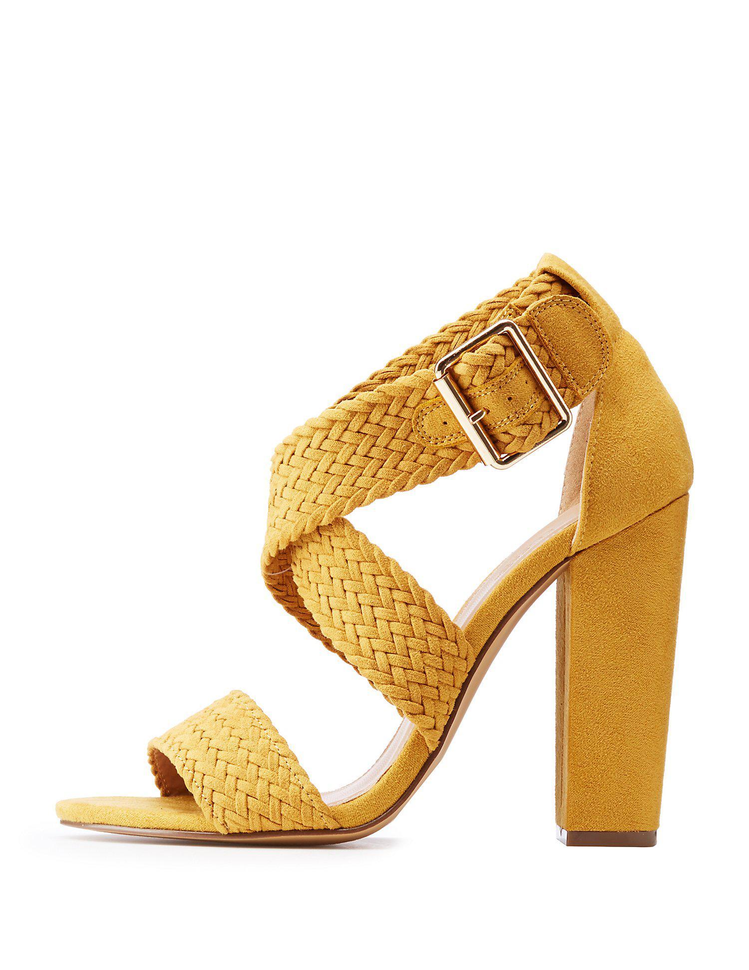 14dd2c164b14 Lyst - Charlotte Russe Braided Crisscross Heel Sandals
