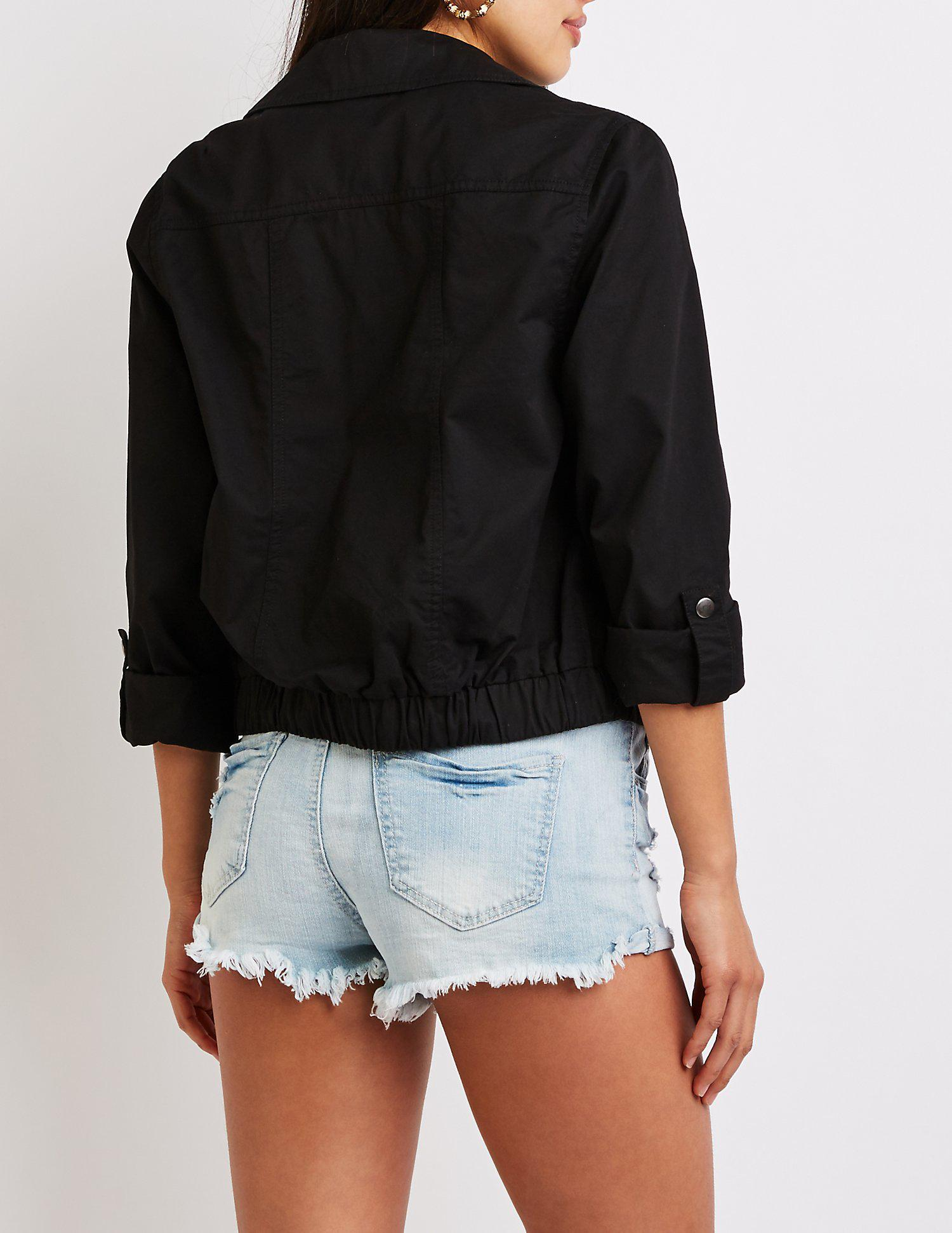7616d04f864 Lyst - Charlotte Russe Anorak Cropped Jacket in Black