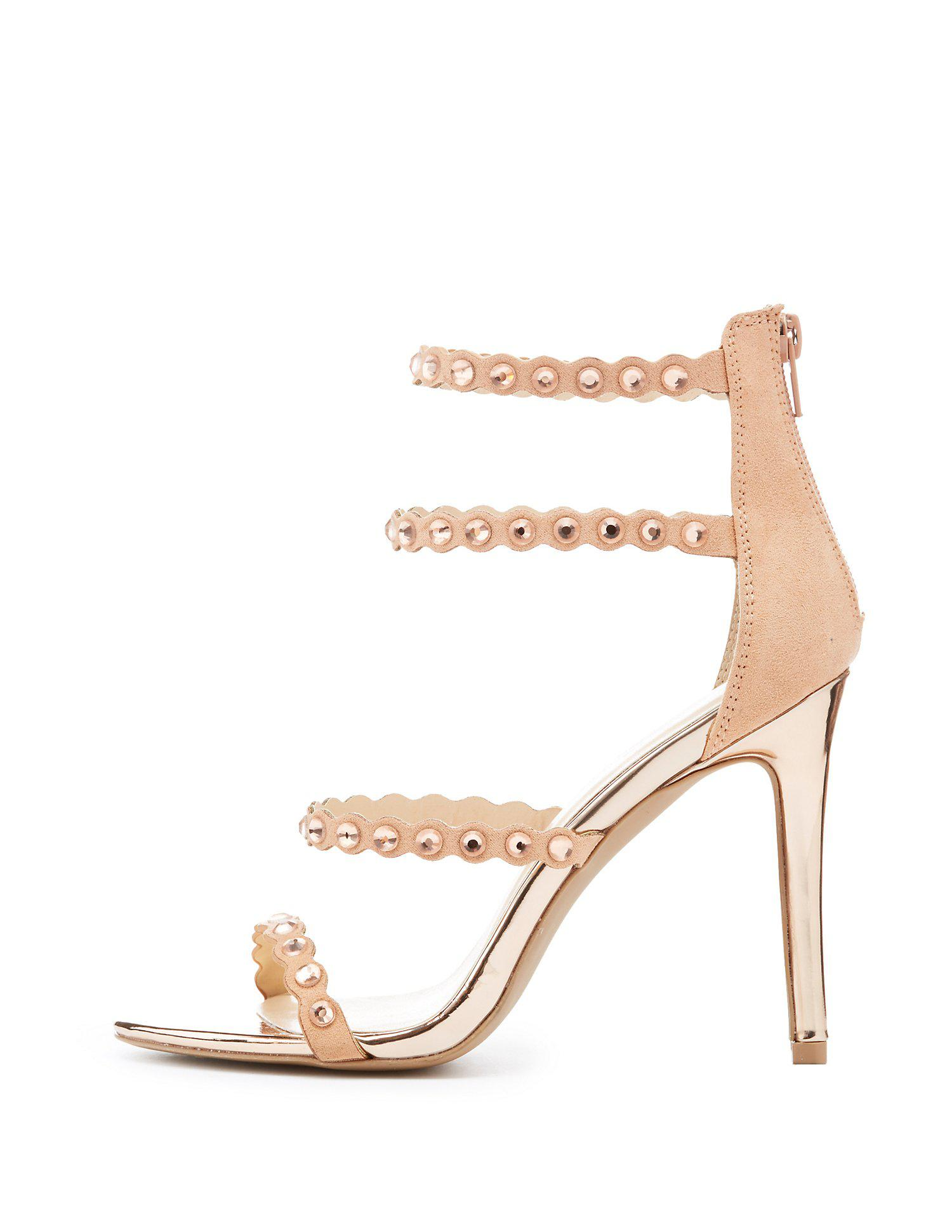 6800e96ed197 Lyst - Charlotte Russe Qupid Studded Strappy Caged Sandals