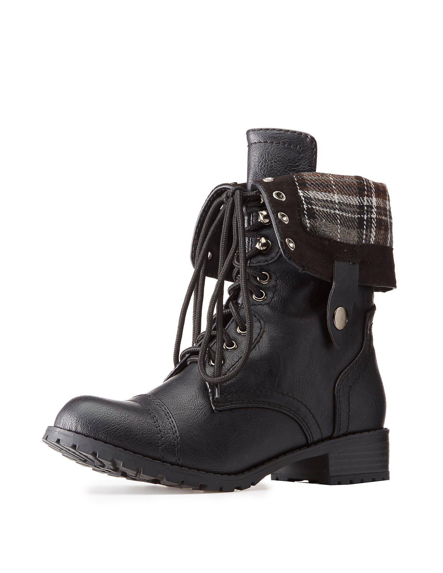 f03779ef3 Lyst charlotte russe plaid fold over combat boots in black jpg 1500x1941  Fold over boot charlotte