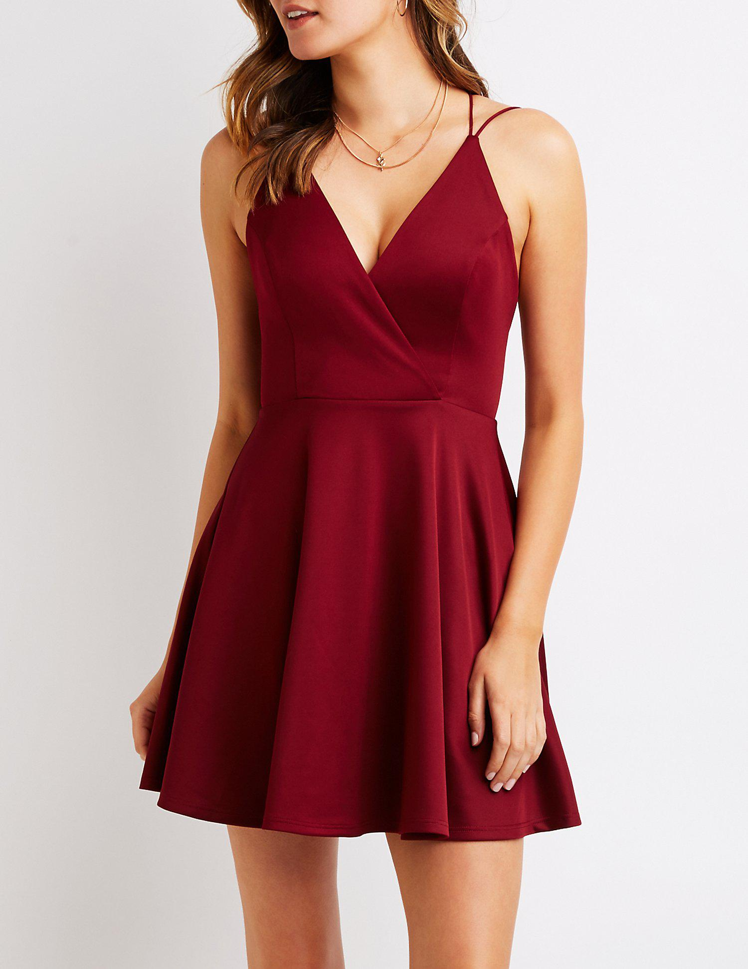 b359f93738 Lyst - Charlotte Russe Strappy Open Back Skater Dress in Red