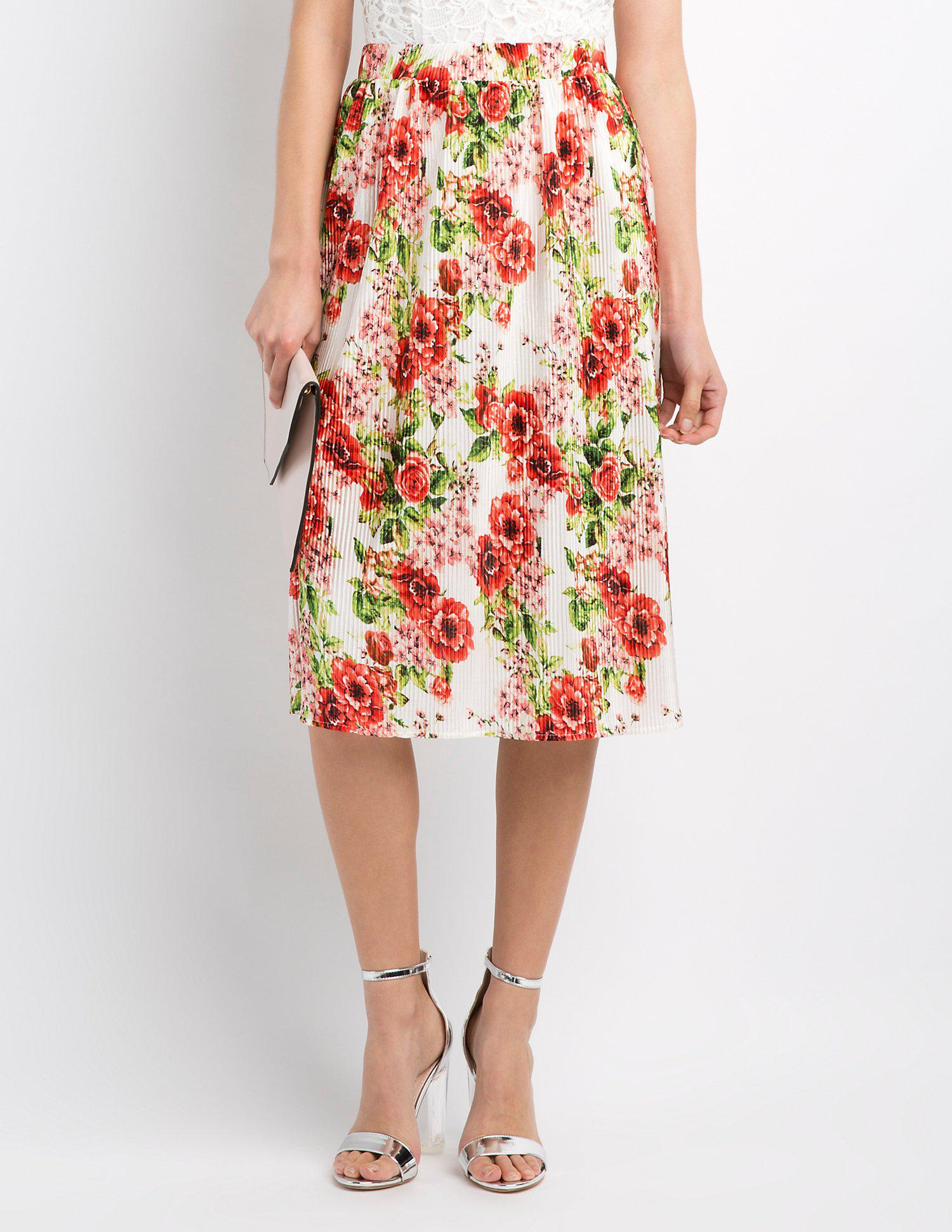 4c094d9bd Lyst - Charlotte Russe Floral Micro Pleated Midi Skirt in Red