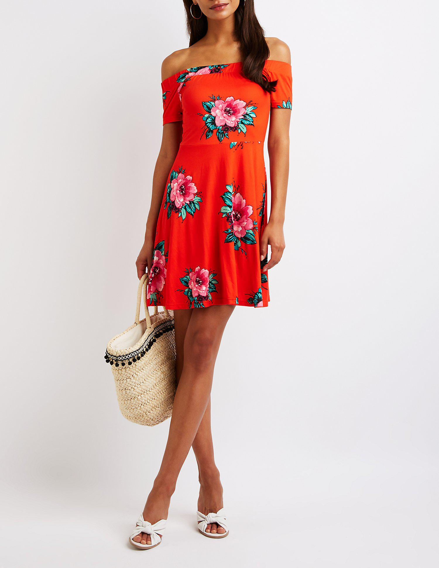 Lyst - Charlotte Russe Printed Off The Shoulder Skater Dress in Red 68eb0aebc