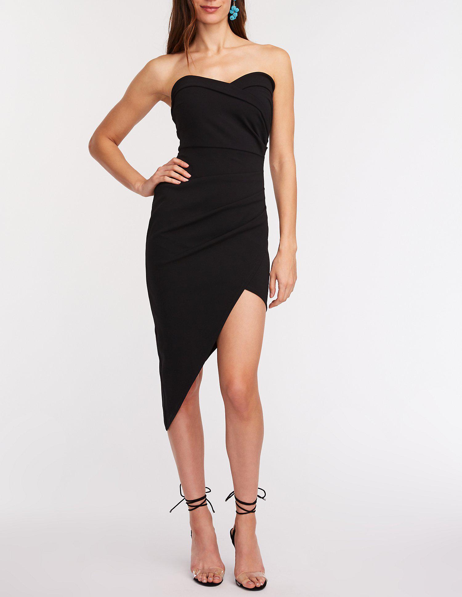 875e7ca9c0f Lyst - Charlotte Russe Strapless Asymmetrical Bodycon Dress in Black