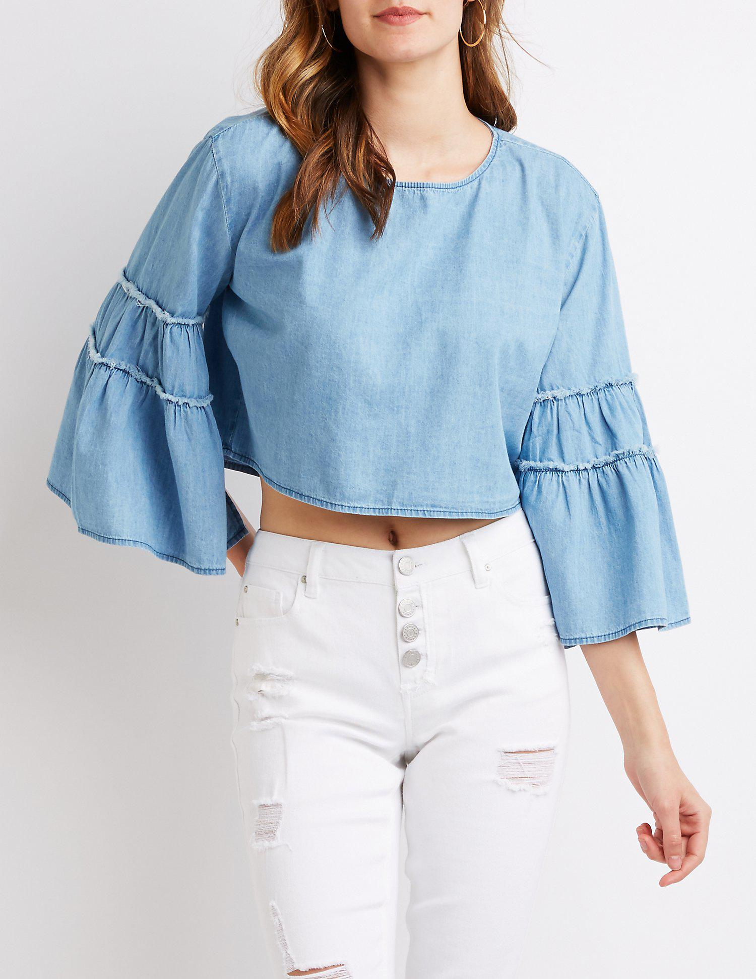 8519f4c062e41a Lyst - Charlotte Russe Chambray Bell Sleeve Top in Blue