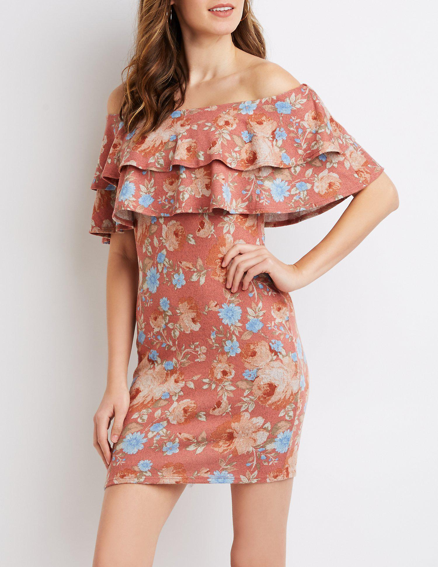 69e0647360 Lyst - Charlotte Russe Floral Ruffle-trim Off-the-shoulder Bodycon Dress