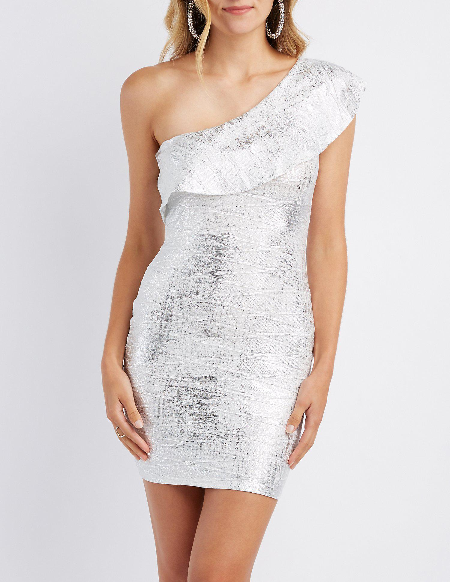 9ca8501bf8 Lyst - Charlotte Russe Ruffle-trim One-shoulder Bodycon Dress