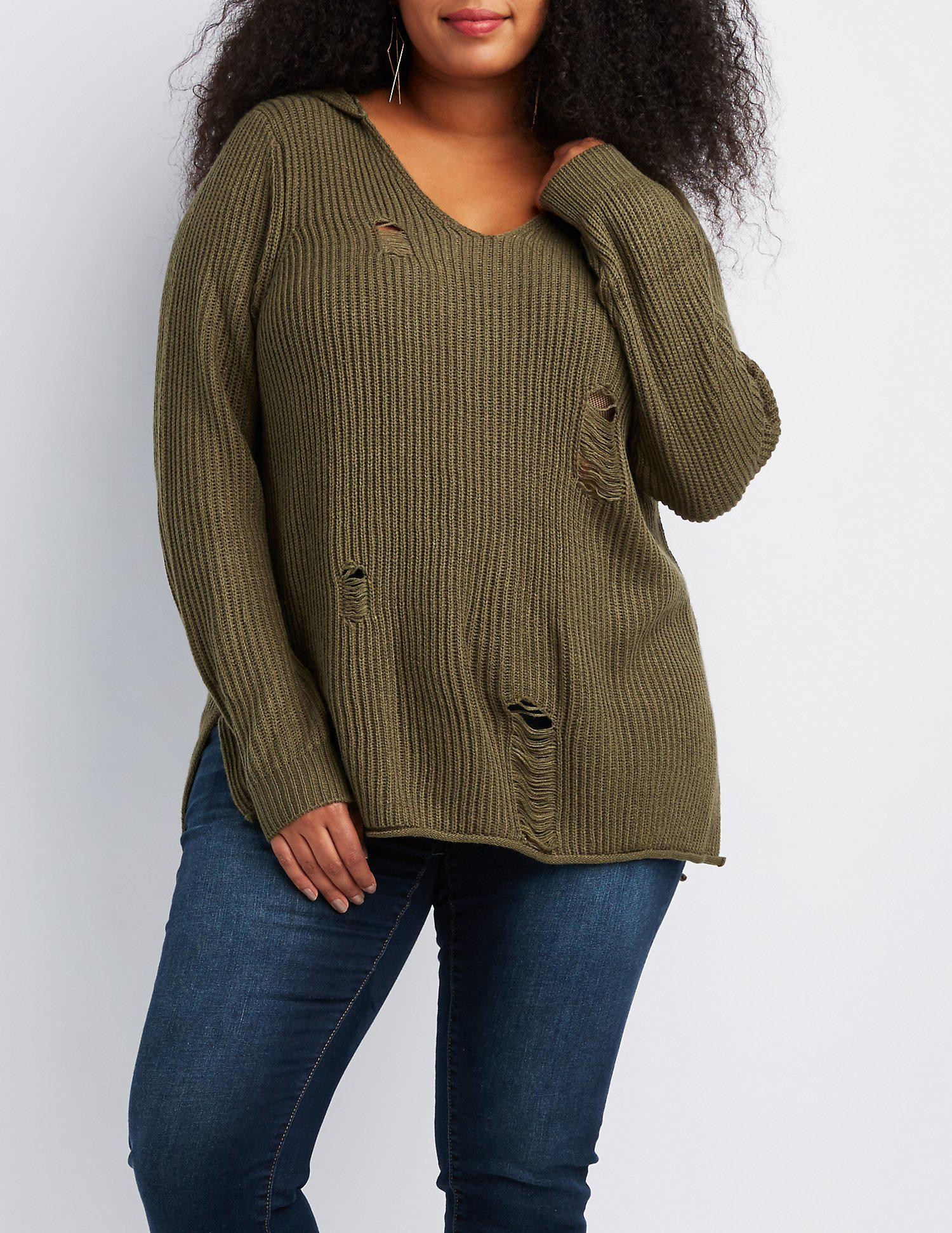 Lyst Charlotte Russe Plus Size Distressed Hooded Shaker Stitch