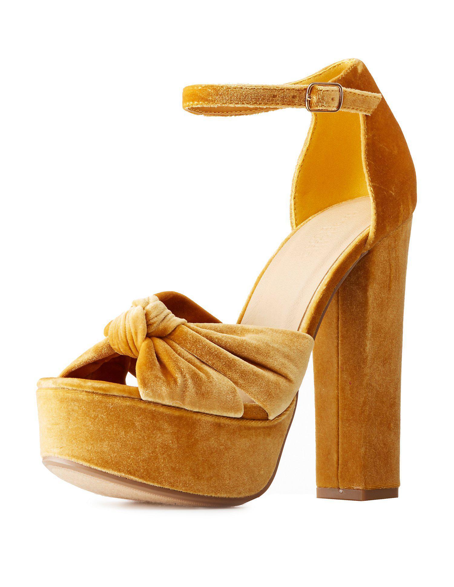 4c723f0e8241 Lyst - Charlotte Russe Velvet Two-piece Platform Sandals