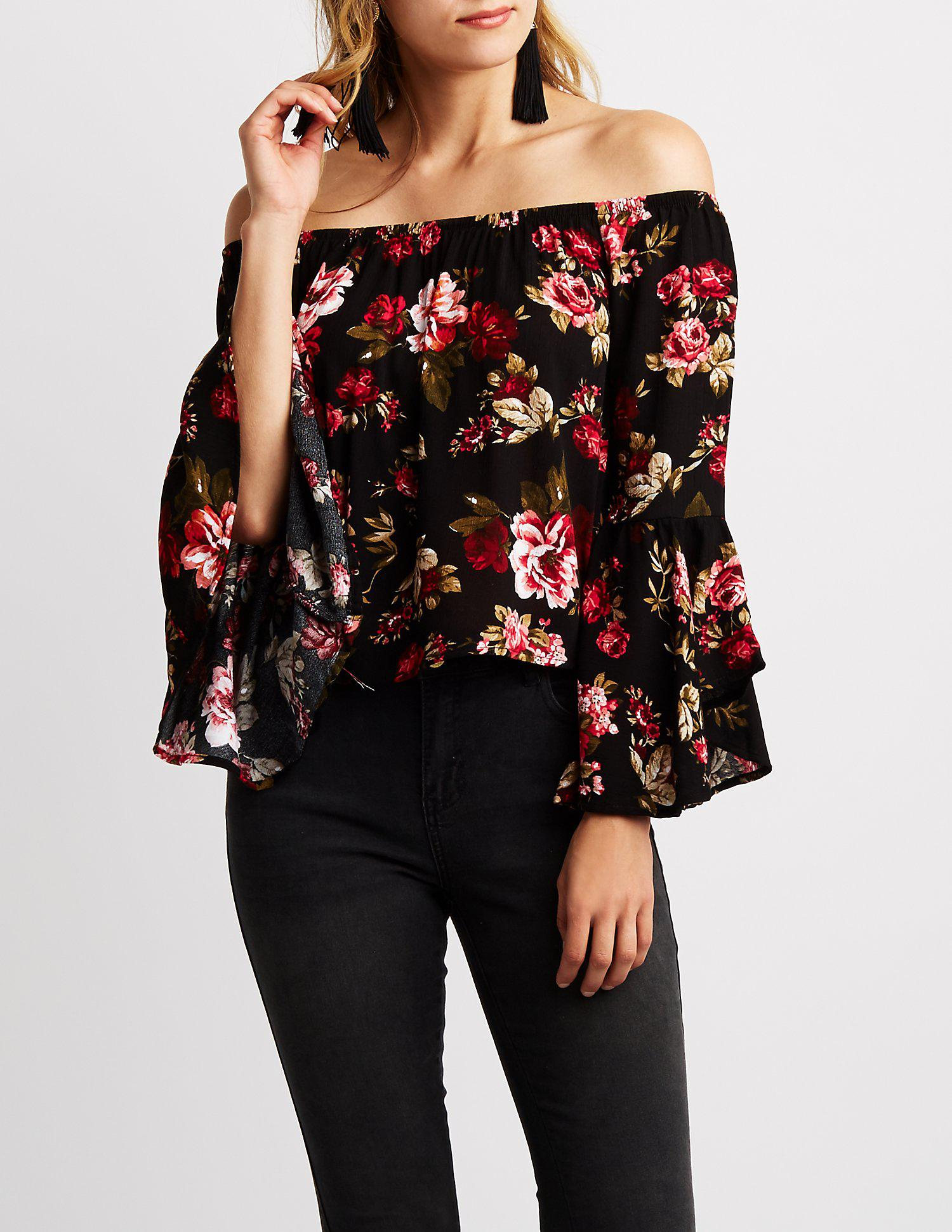 3dab2ff5c7a Lyst - Charlotte Russe Floral Off The Shoulder Top in Black - Save 53%