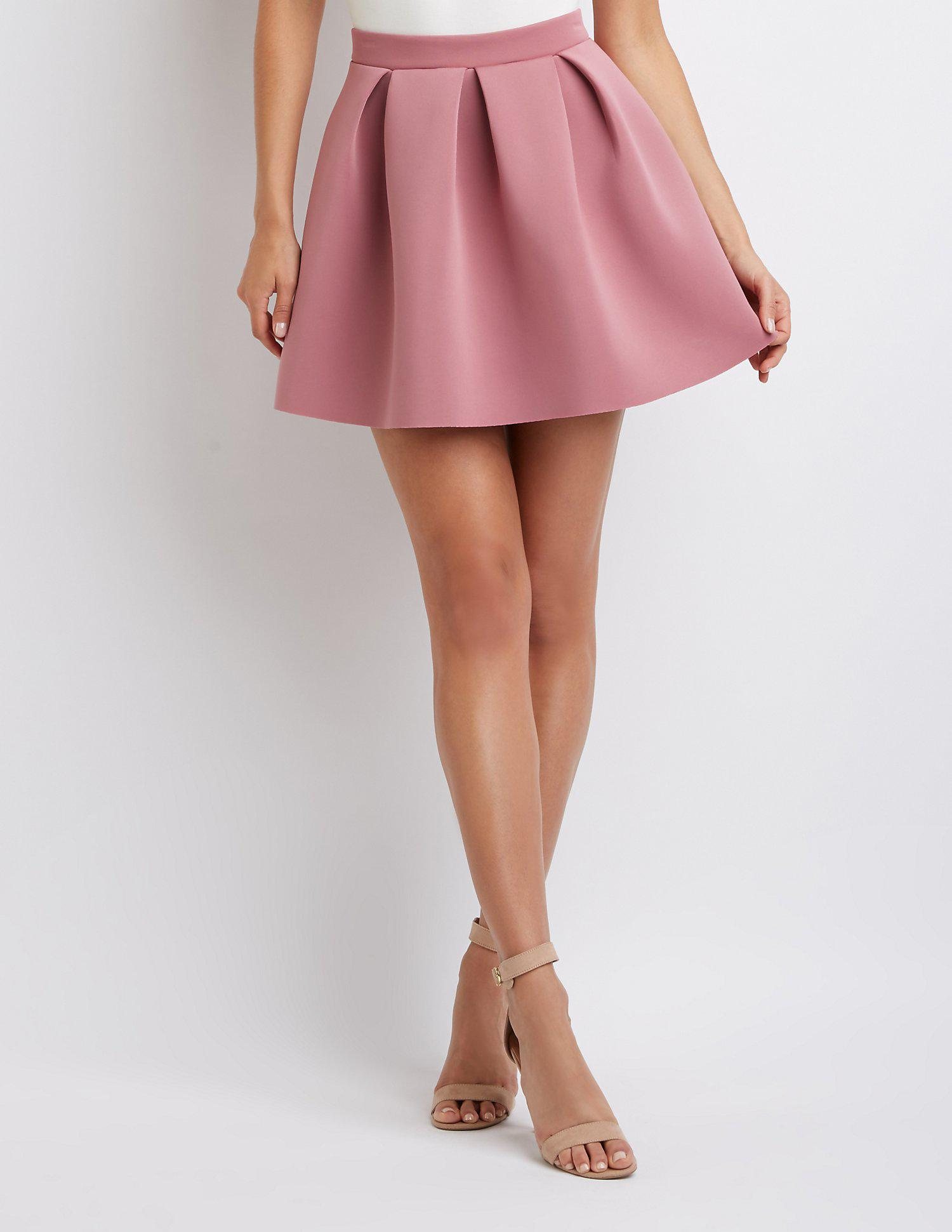 aad1cb38c4 Lyst - Charlotte Russe Pleated Scuba Skater Skirt in Pink - Save 41%