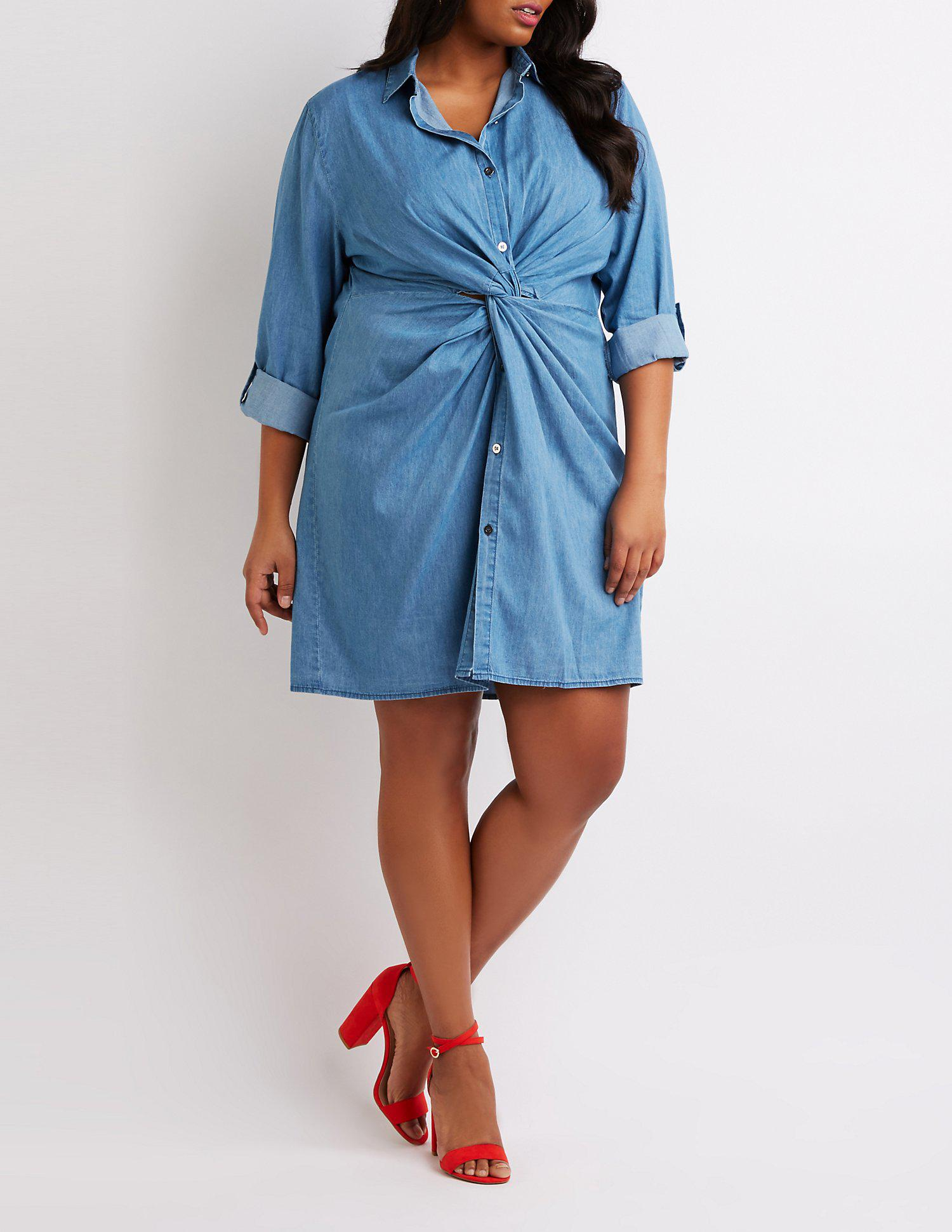 Lyst Charlotte Russe Plus Size Chambray Front Tie Shirt Dress In Blue