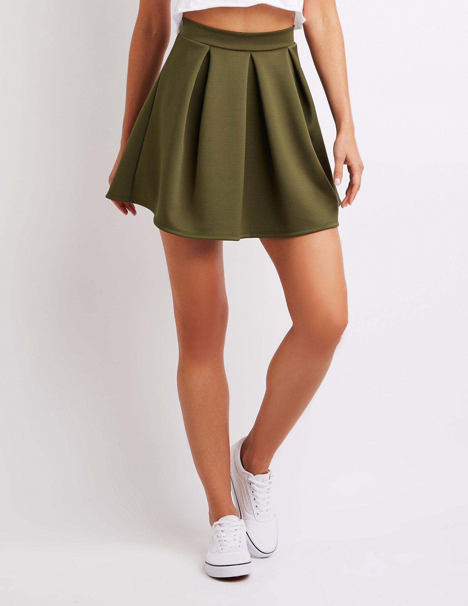 cb699b827a Lyst - Charlotte Russe Pleated Scuba Skater Skirt in Green - Save 30%