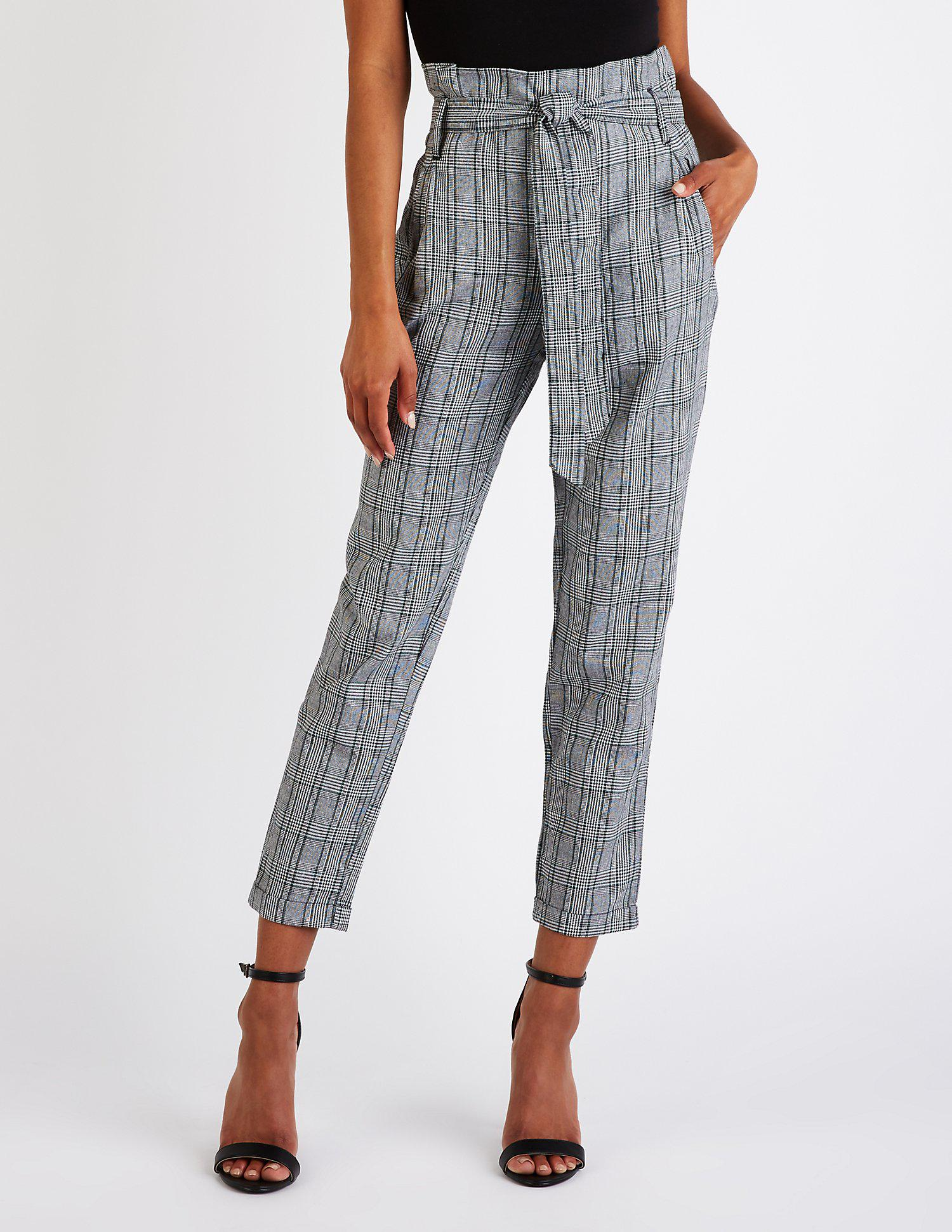 13152f3f3281b Lyst - Charlotte Russe Plaid Paperbag Trousers