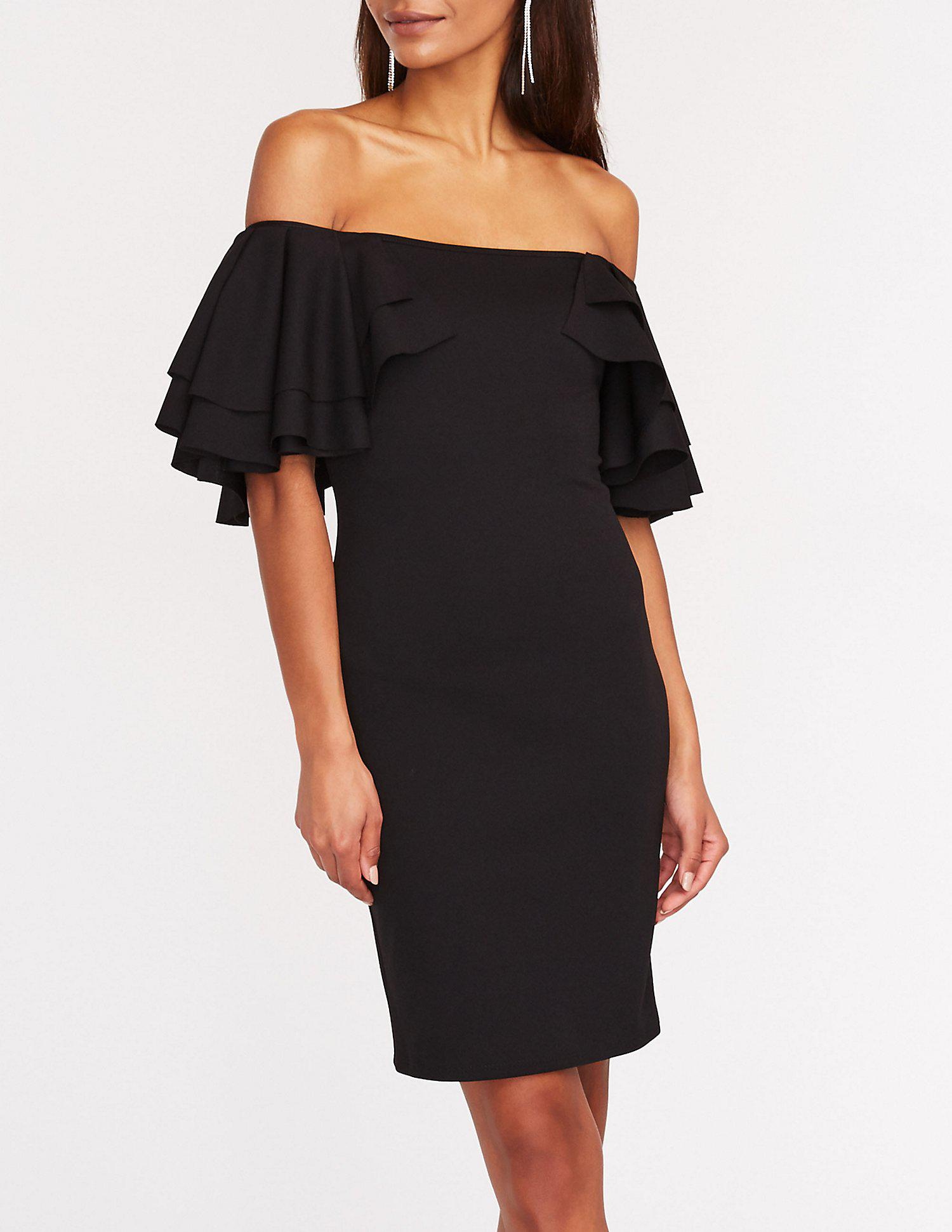 246df7a3363 Lyst - Charlotte Russe Off The Shoulder Ruffle Sleeve Dress in Black
