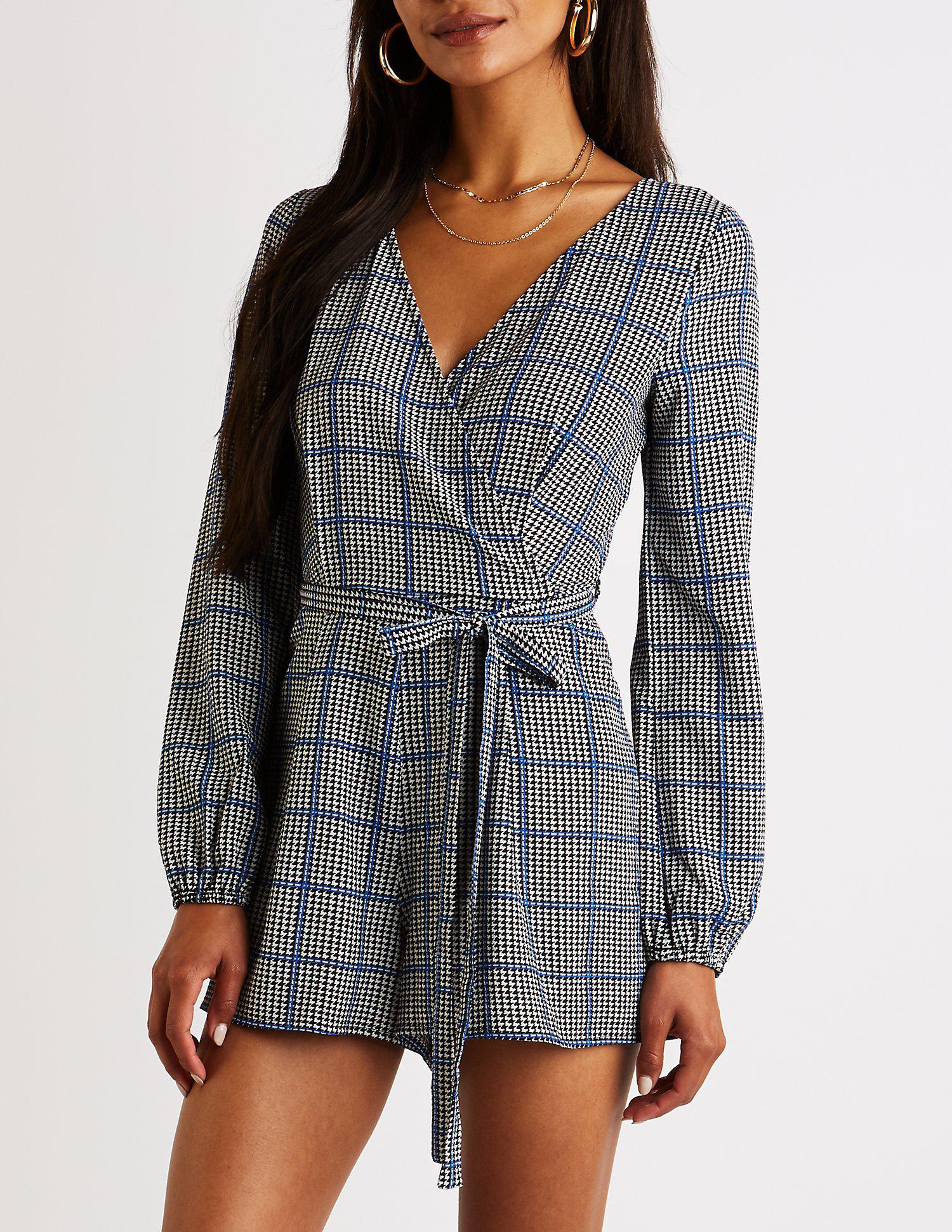 7eb56a26f18f Lyst - Charlotte Russe Houndstooth Wrap Romper in Black