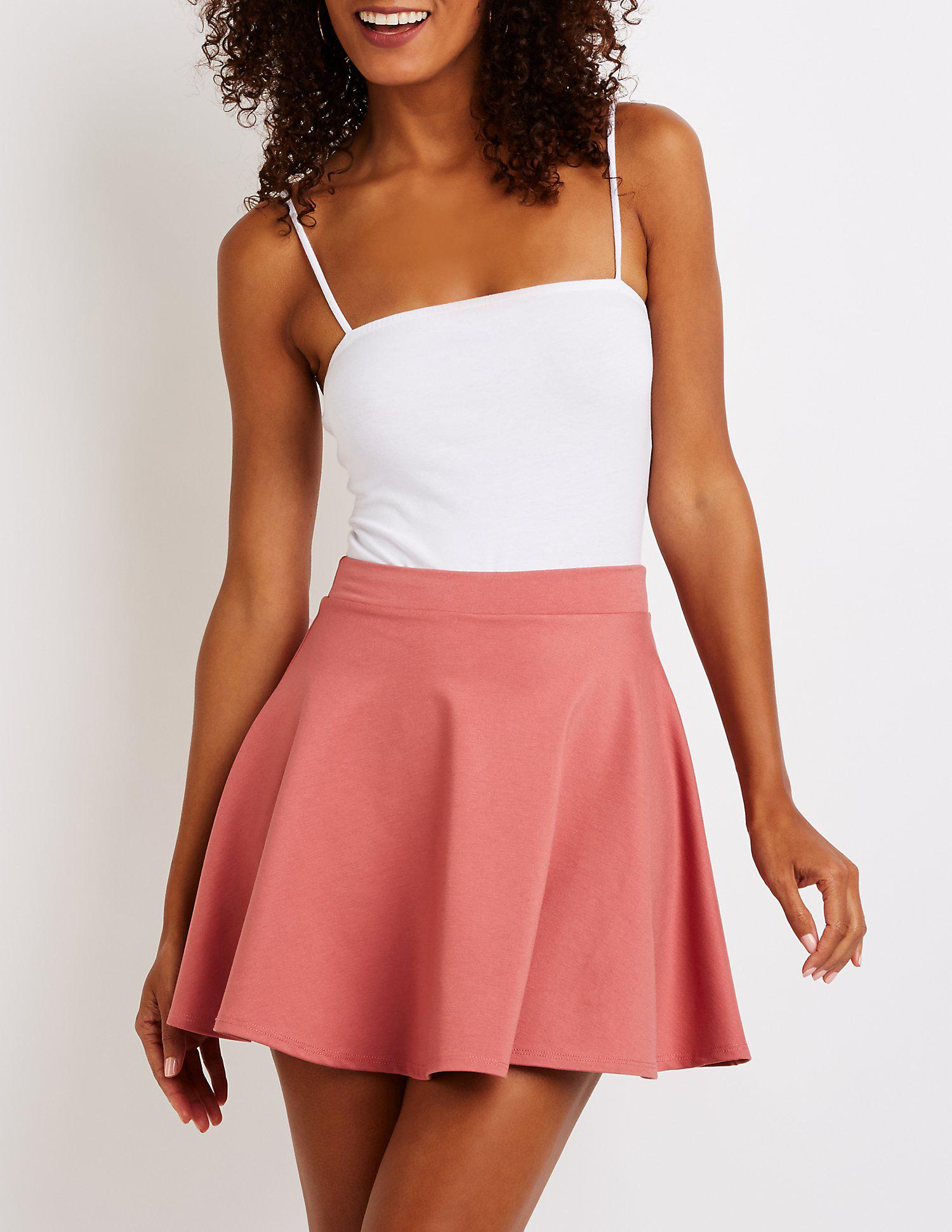 6a161a287a Lyst - Charlotte Russe Ponte Knit Skater Skirt in Pink