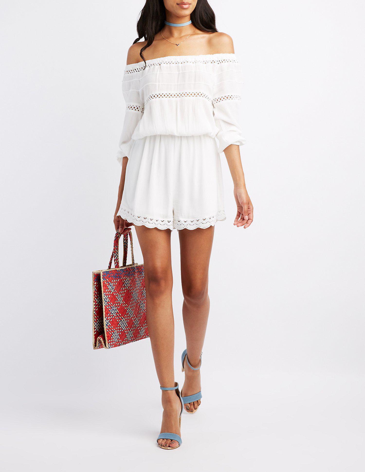 7e79a54a44a2 Lyst - Charlotte Russe Crochet-trim Off-the-shoulder Romper in White