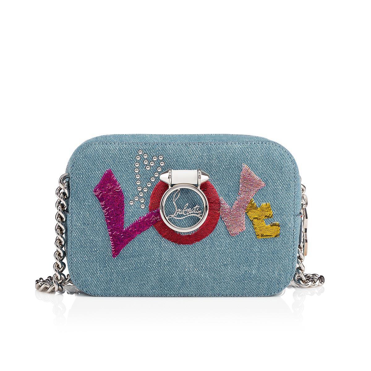 9633b28912a Christian Louboutin Rubylou Mini Love Denim Crossbody Bag in Blue - Lyst