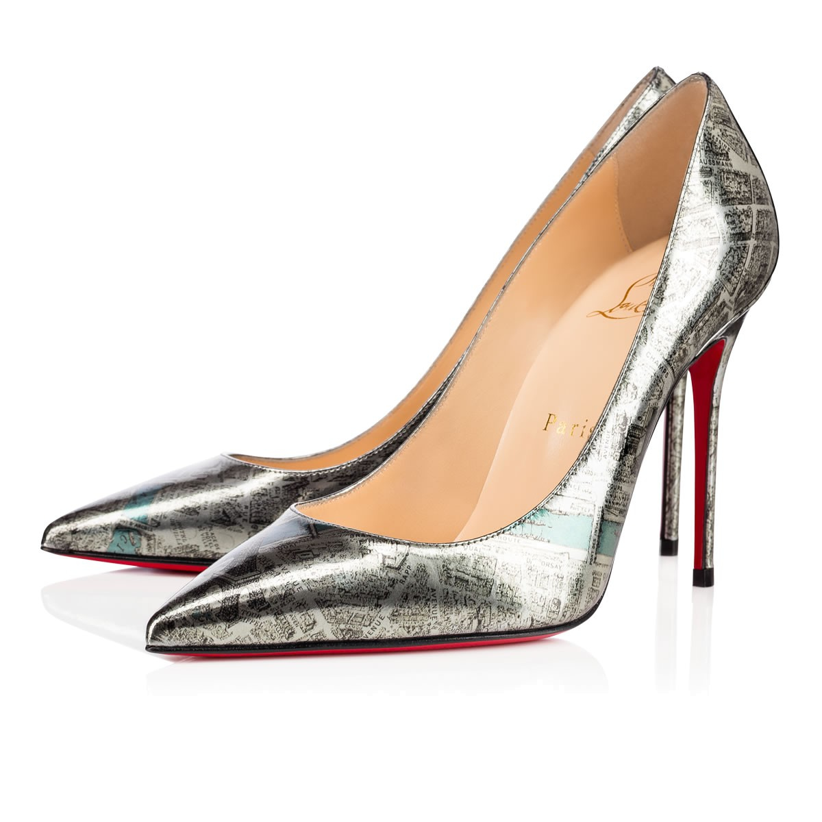 3477462f25f Lyst - Christian Louboutin Decollete 554 Plan De Paris in Metallic