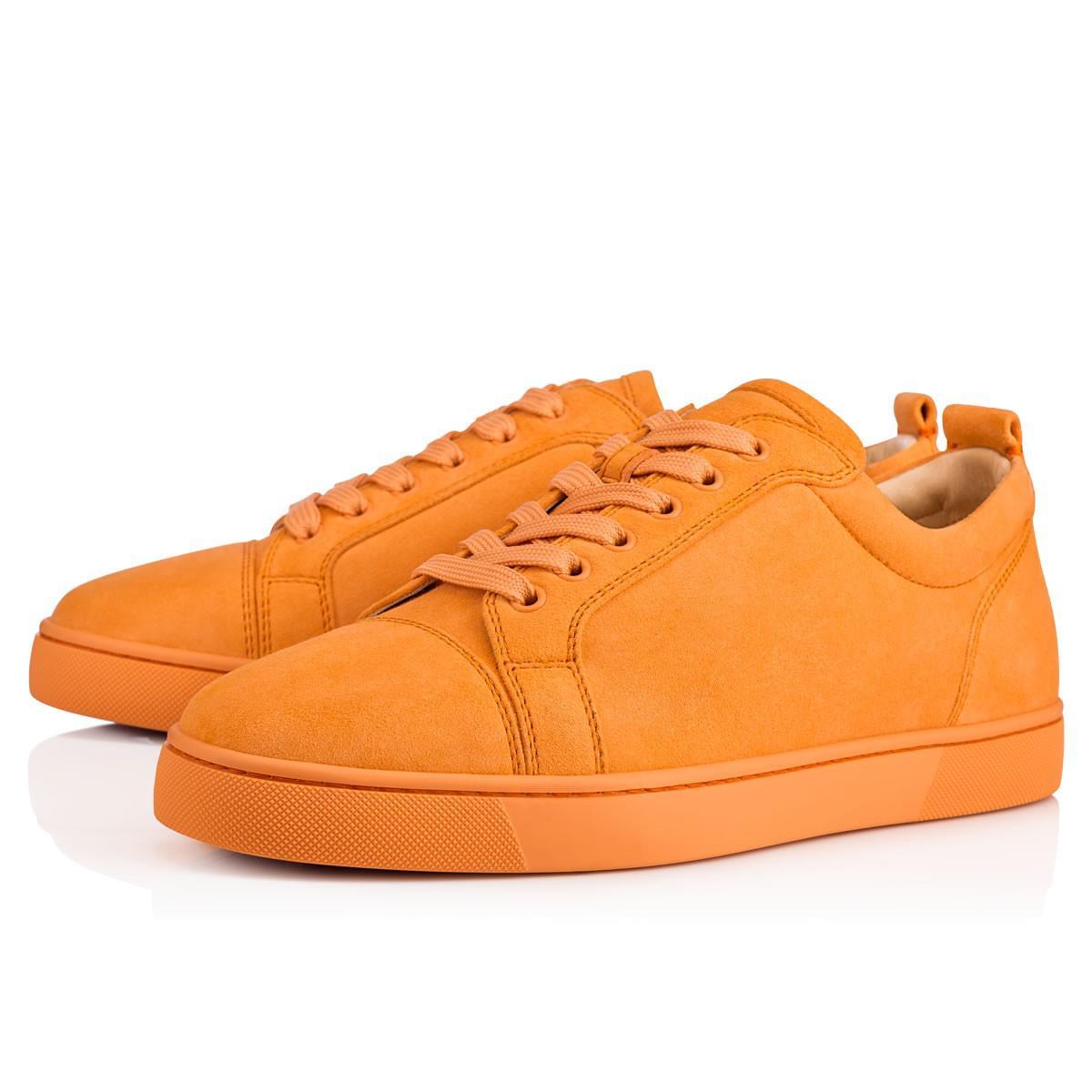 b755c00d76d Lyst - Christian Louboutin Louis Junior Flat Veau Velours in Orange ...