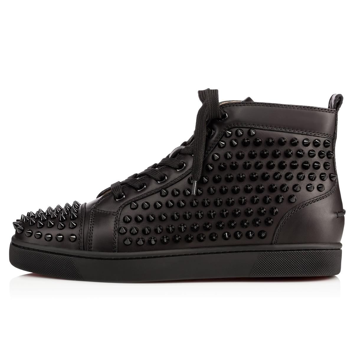 dd8a9c8cc139 Christian Louboutin - Black Louis Spikes Studded High-Top Sneakers for Men  - Lyst. View fullscreen