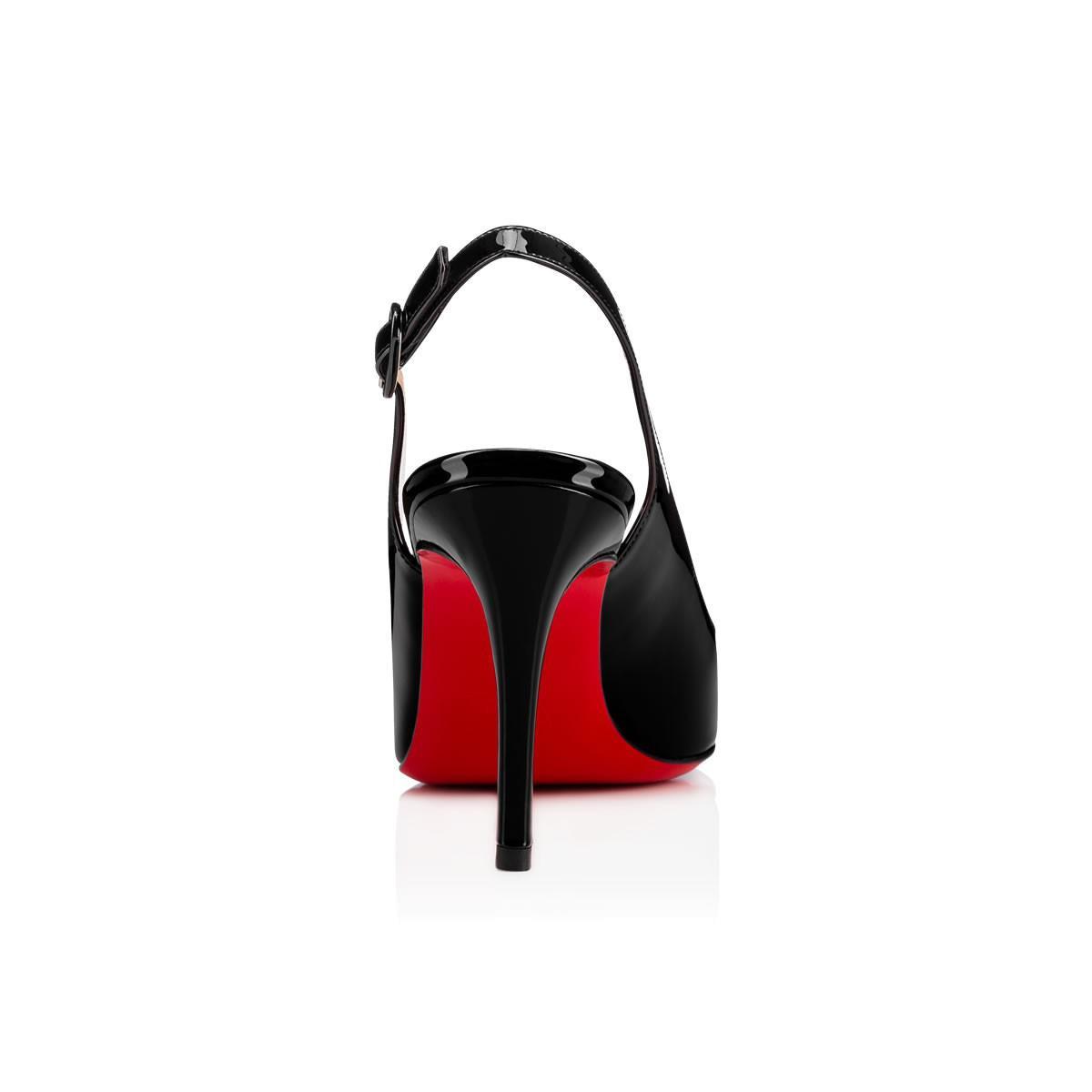 8381694bc36e Lyst - Christian Louboutin Miss Gena Sling Patent 85 Black Patent ...