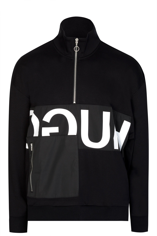 024d3fa46 HUGO Darrius Half Zip Reverse Logo Sweat In Black in Black for Men ...