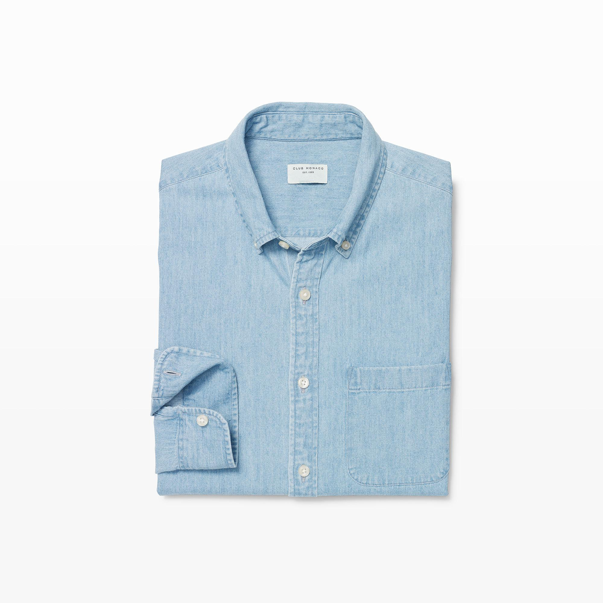 98523d4397b Lyst - Club Monaco Slim Denim Shirt in Blue for Men