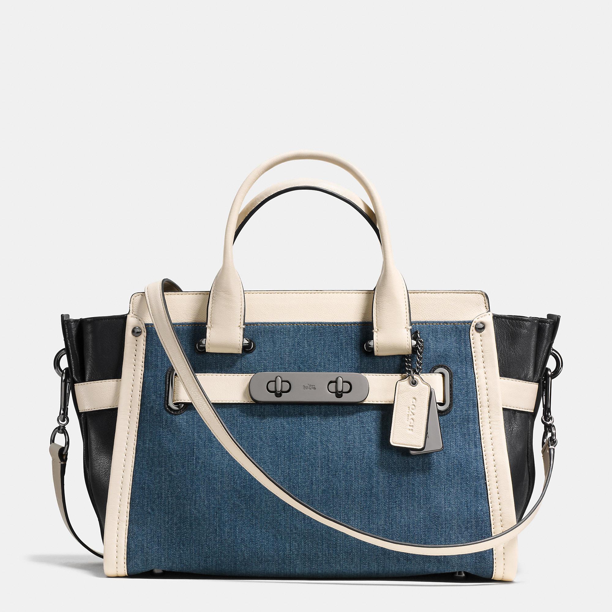 Lyst - COACH Soft Swagger In Colorblock Denim in Blue fb5e73e89a382