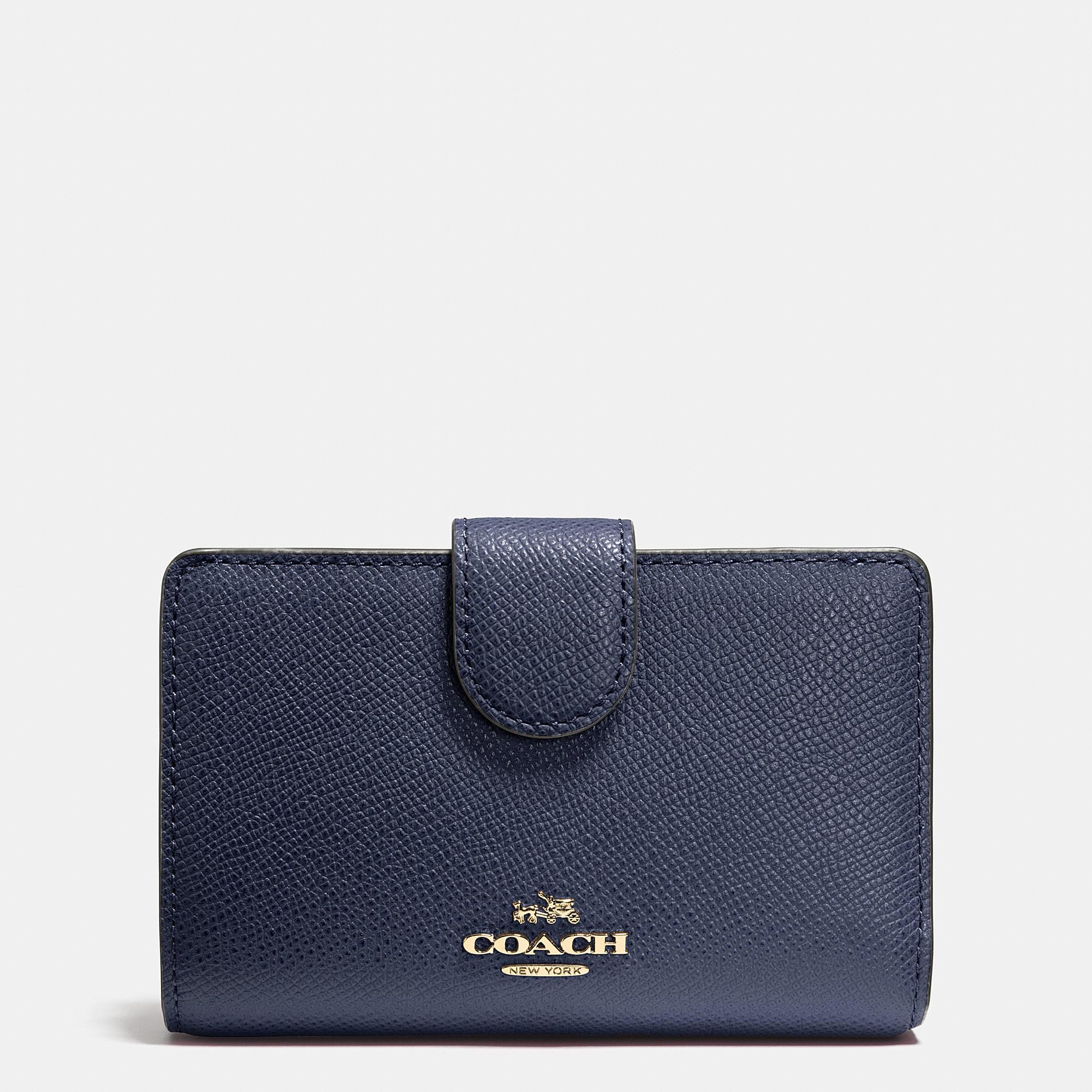 Coach Medium Zip Around Wallet In Crossgrain Leather In