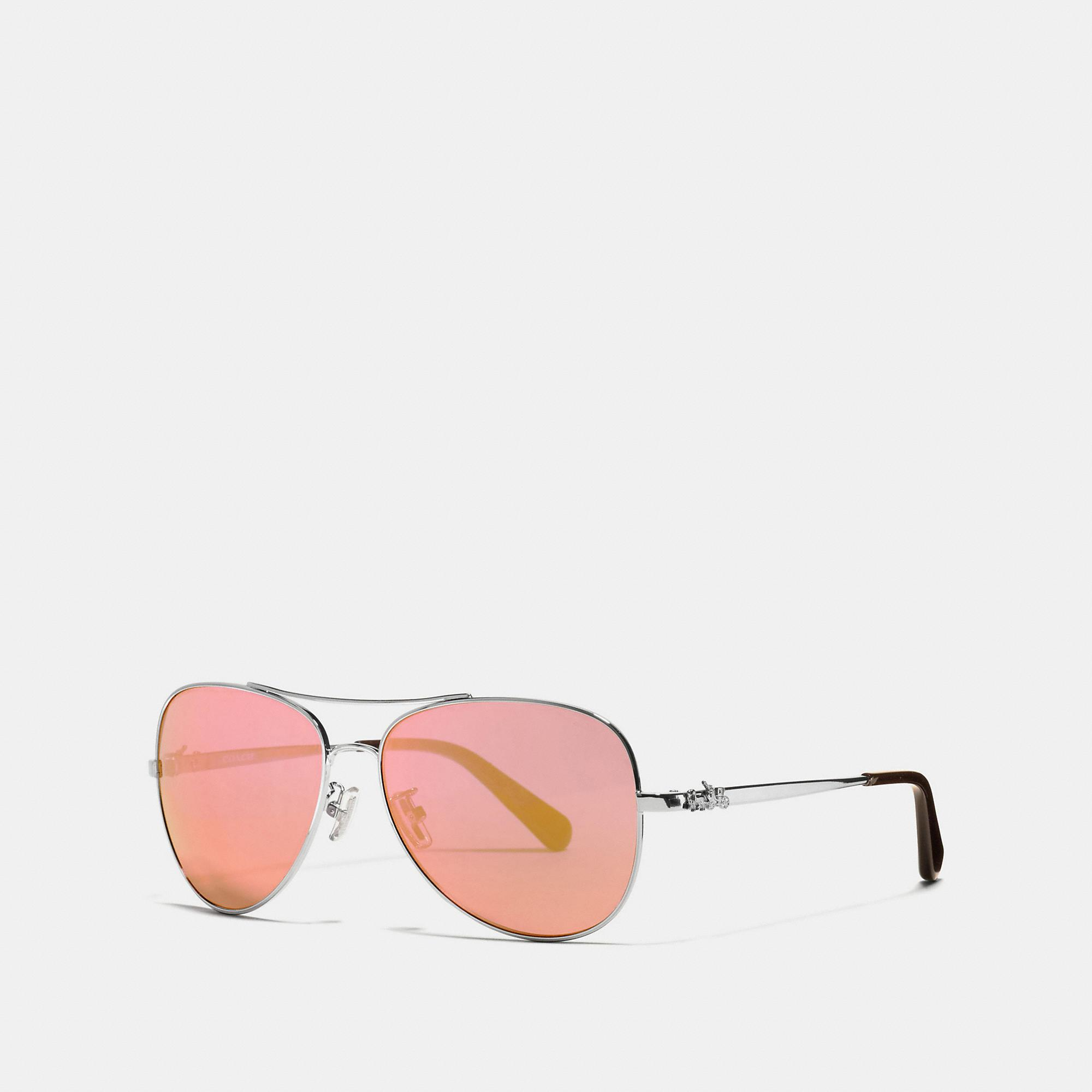 733c376e5740 ... norway lyst coach horse and carriage metal pilot sunglasses in pink  57ad4 00545