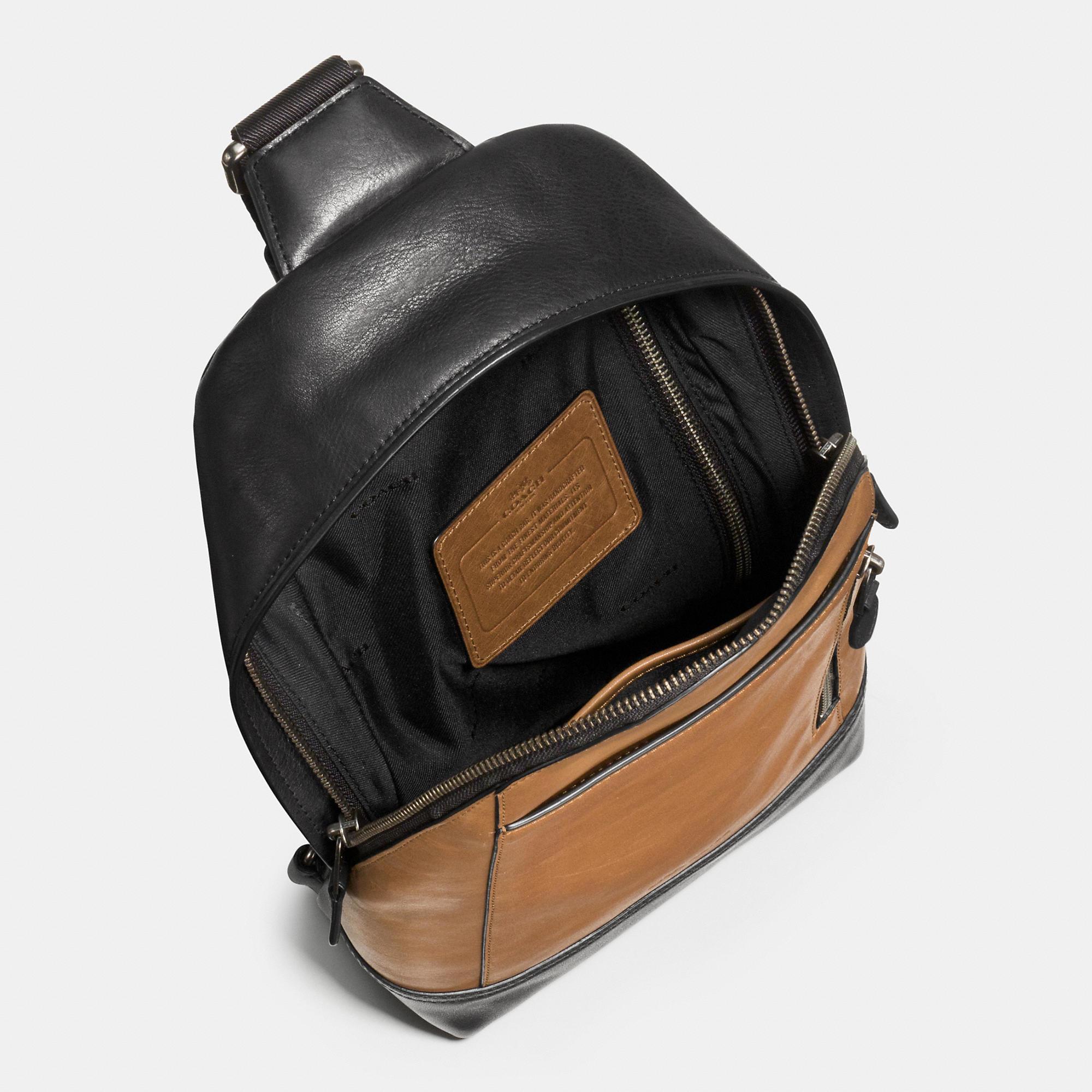 6fdecd4c33 Lyst - COACH Manhattan Sling Pack In Sport Calf Leather for Men