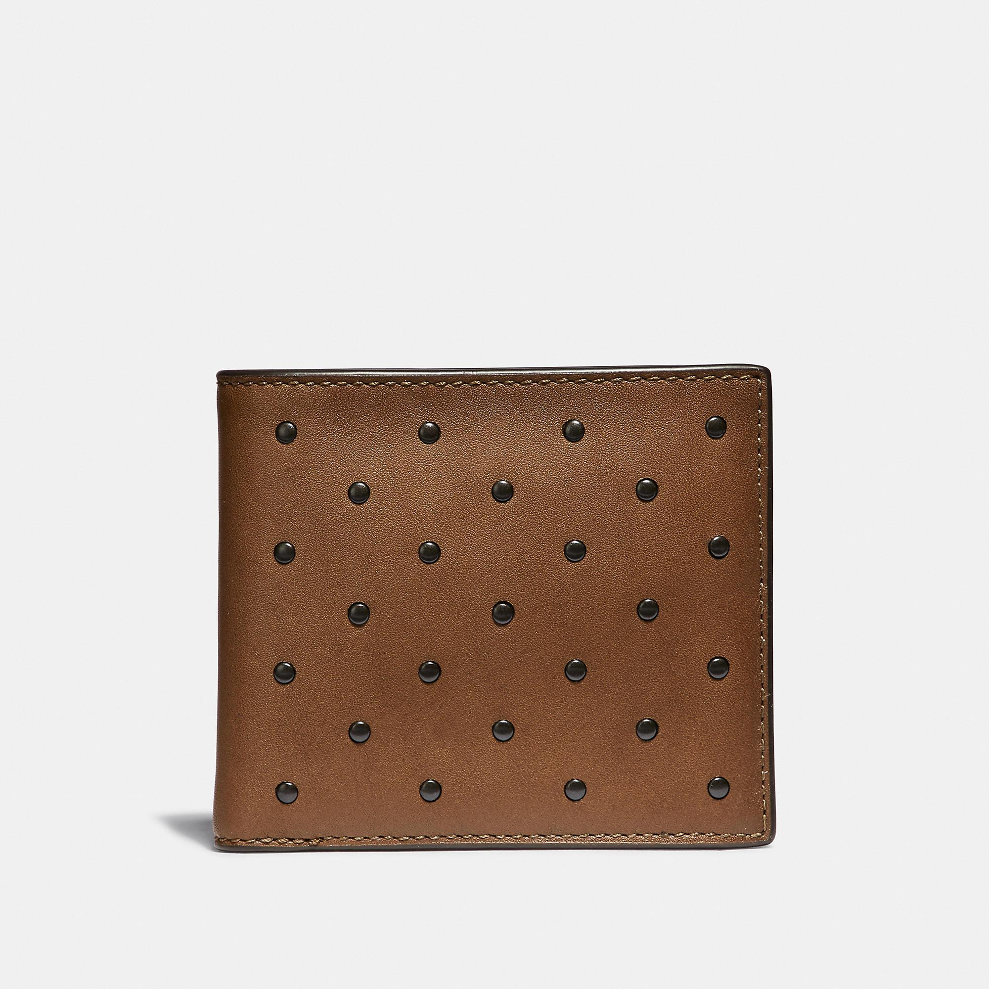 d05504a52883 Lyst - COACH Double Billfold Wallet With Rivets in Brown for Men