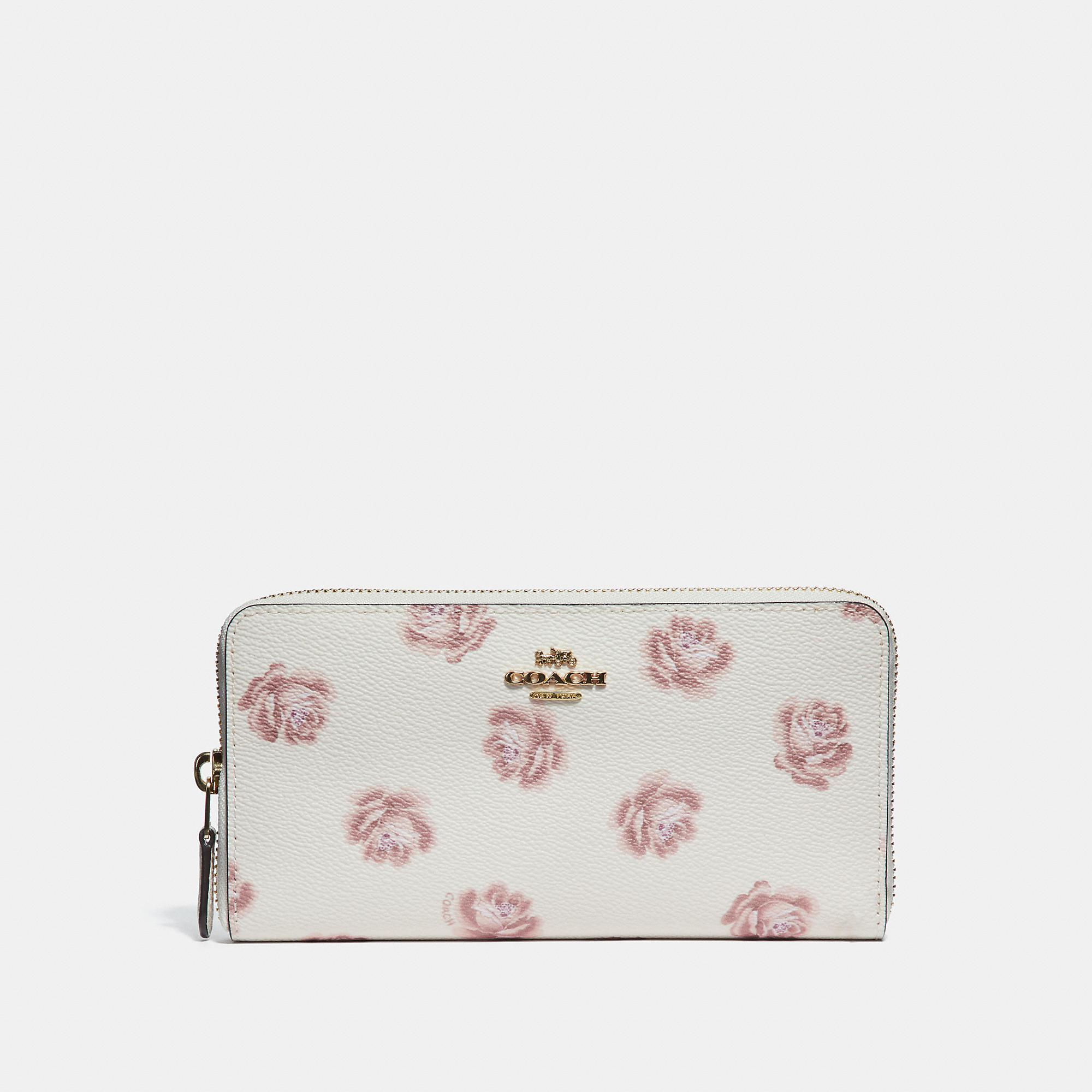 Lyst - COACH Accordion Zip Wallet With Rose Print in Pink 6f564df40e