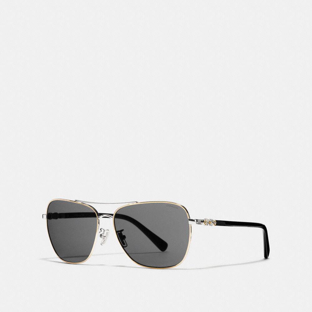 a07d180b844f ... uk lyst coach daisy rivet square pilot sunglasses in metallic 365ec  f5d30