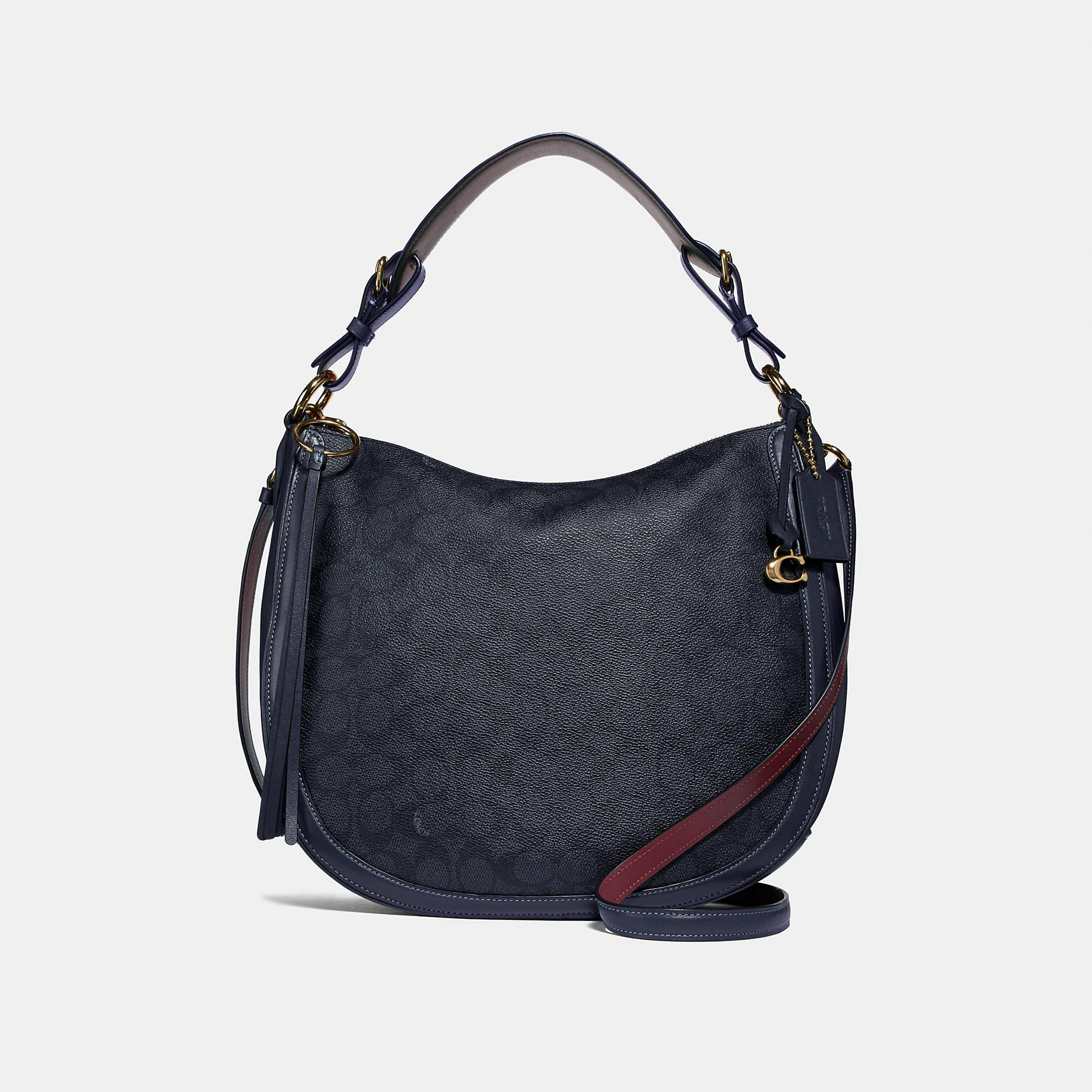 Lyst - COACH Sutton Hobo In Signature Canvas in Blue 6ee14d664a3a9