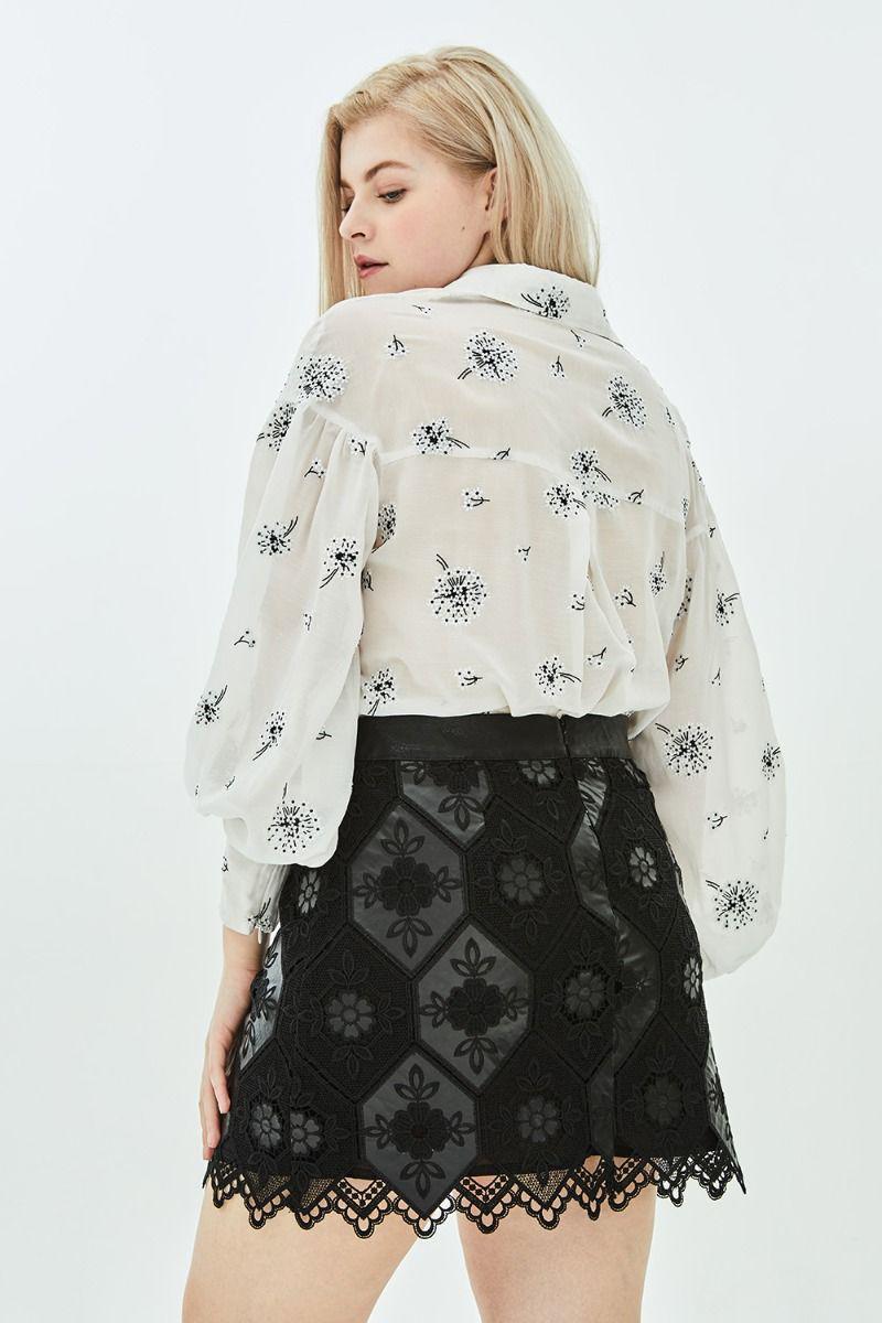 ad416674da Elvi - Multicolor Calla Honeycomb Faux Leather + Lace A Line Mini Skirt -  Lyst. View fullscreen