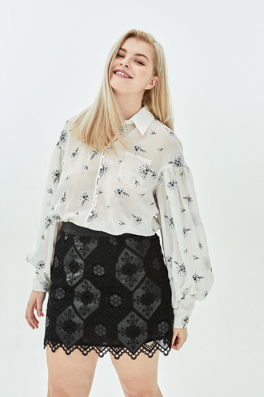 604709a560 Lyst - Elvi Calla Honeycomb Faux Leather + Lace A Line Mini Skirt