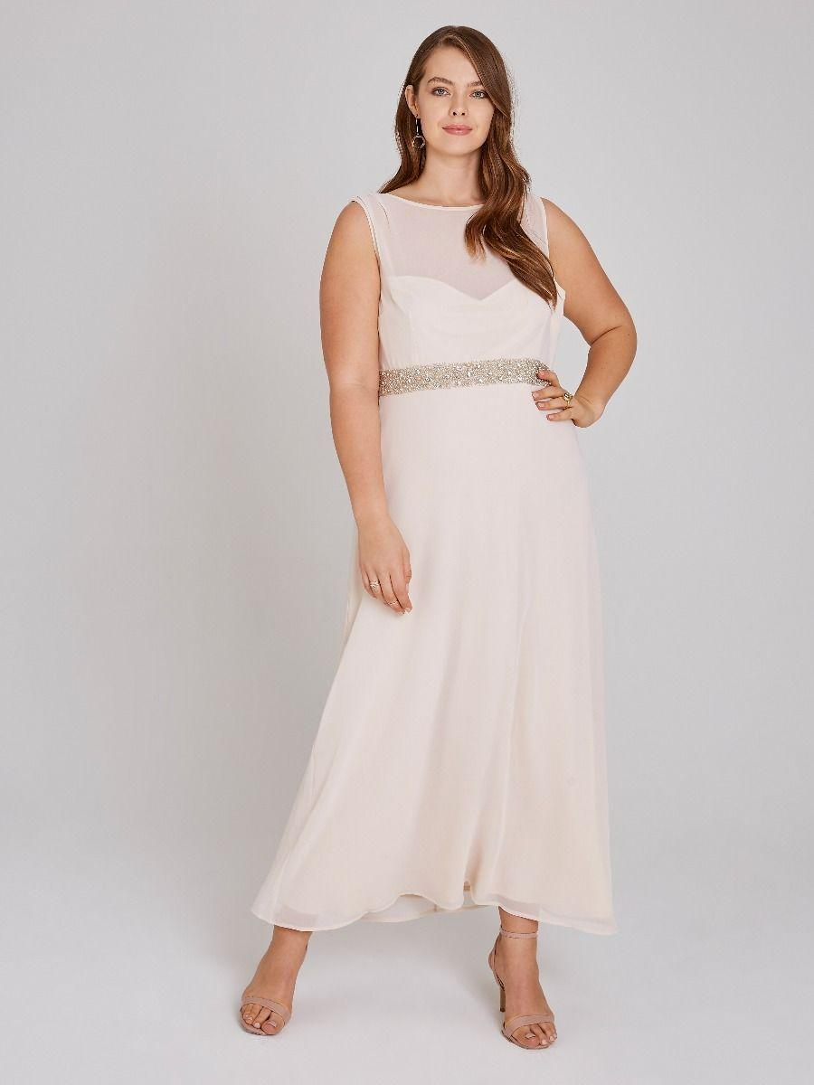 361fb9f8 Little Mistress. Women's Nadine Blush Hand-embellished Sequin Cowl Back Maxi  Dress