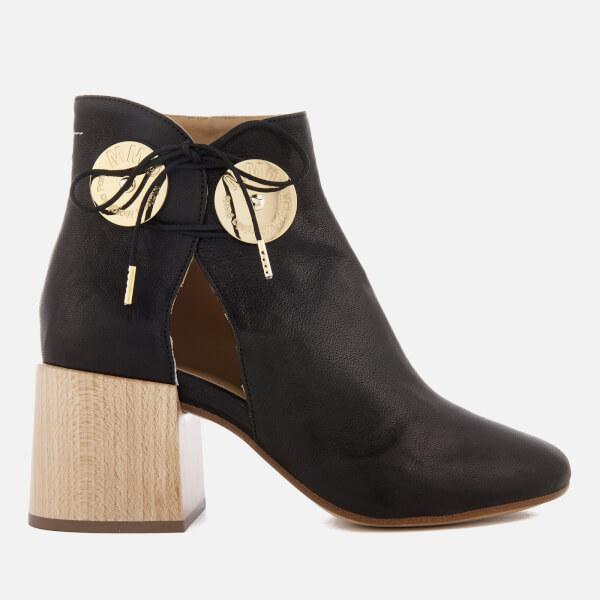 MM6 MAISON MARGIELA Women's Ankle Boot with Cut Out Side and Wooden Block Heels Deals Online Professional For Sale Discount Really 100% Original Cheap Online 1zeq7