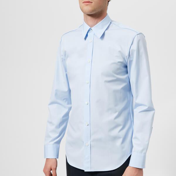 25536dc80d8 Maison Margiela Men s Cotton Popeline Slim Fit Seam Shirt in Blue ...