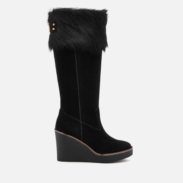 UGG. Black Women's Valberg Sheepskin Cuff Suede Thigh High Boots