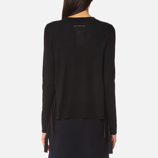 1dd43c110a MM6 by Maison Martin Margiela - Black Women s Fine Knitted Jumper With Tie  Side Details -. View fullscreen