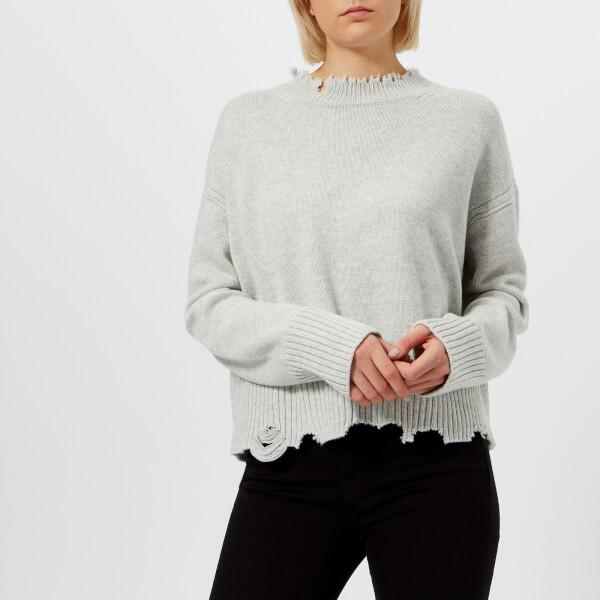a9f5701b72 Lyst - Helmut Lang Women s Distressed Crew Neck Jumper in Gray