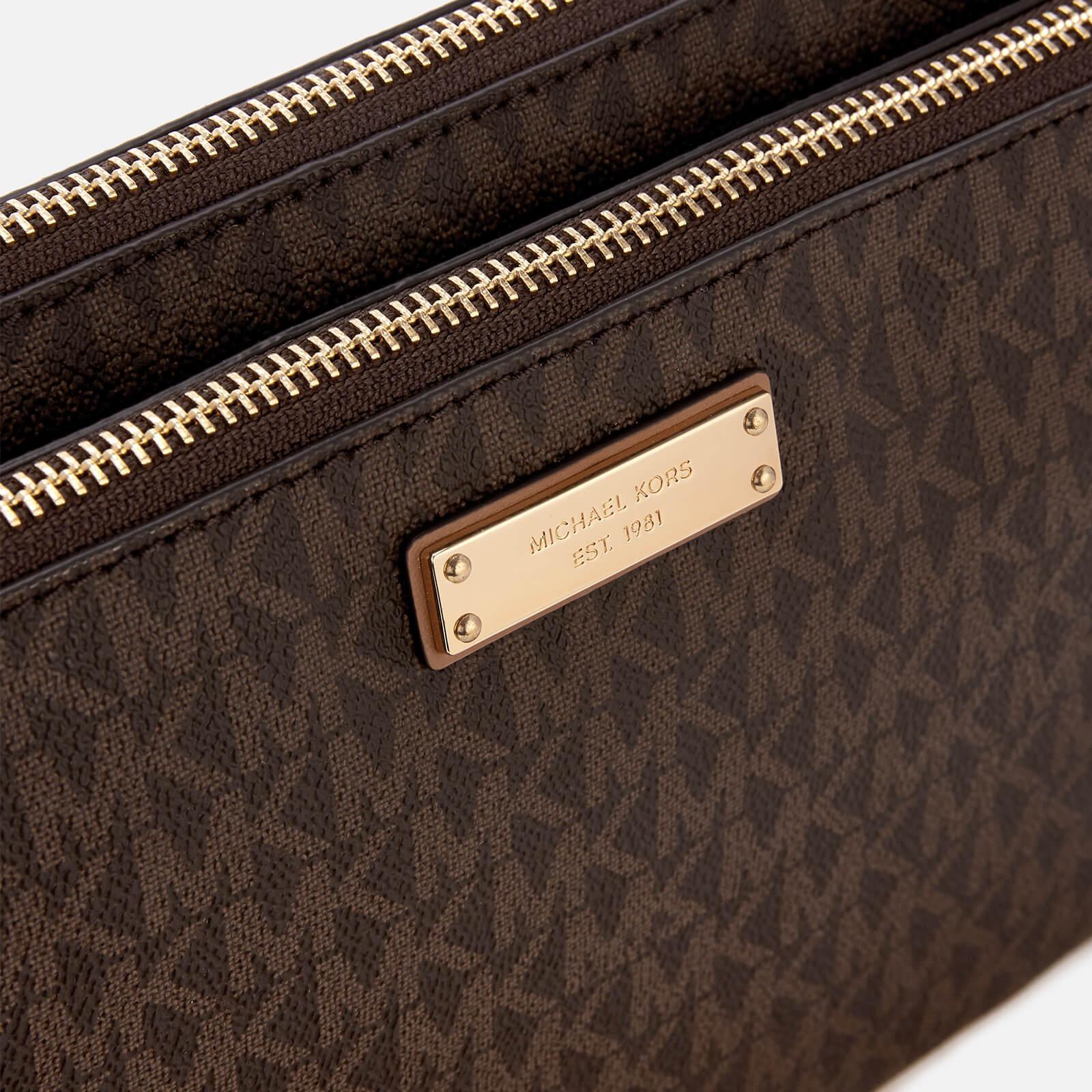 30a1bbfac449 MICHAEL Michael Kors Adele Double Zip Cross Body Bag in Brown - Lyst