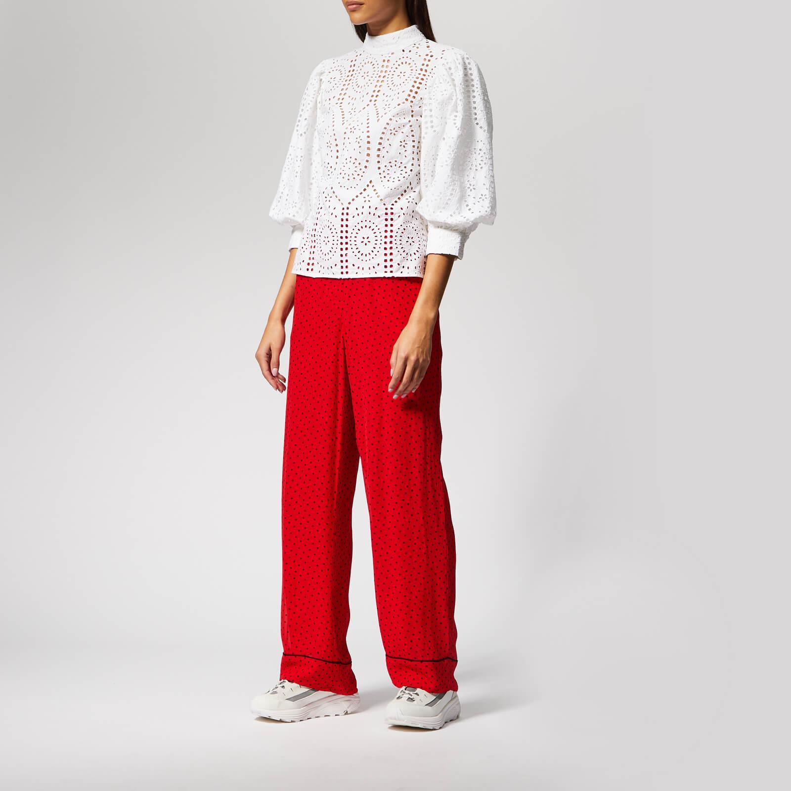 7b055661 Ganni Mullin Georgette Trousers in Red - Lyst